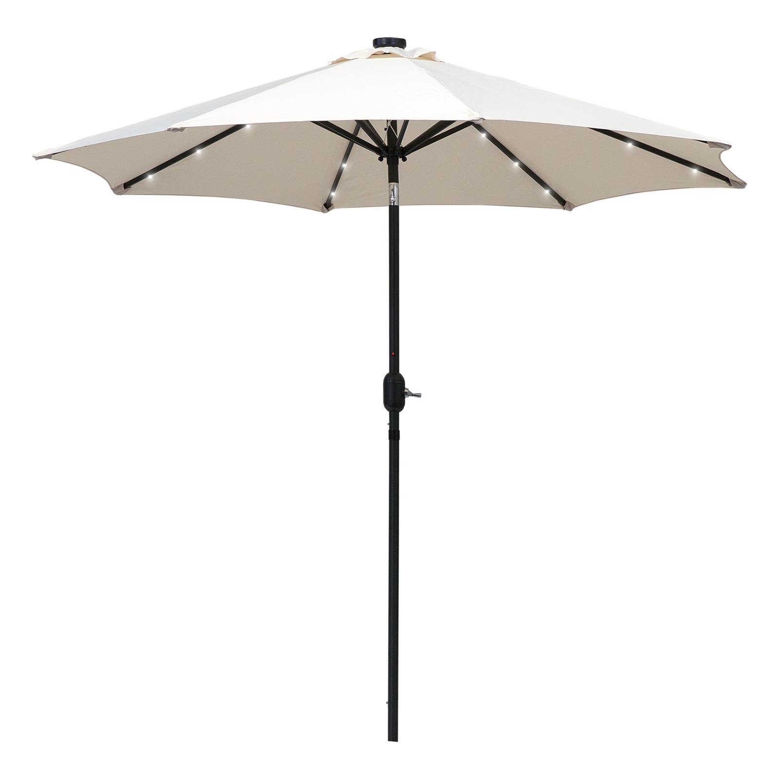 Parasol octogonal inclinable LED crème