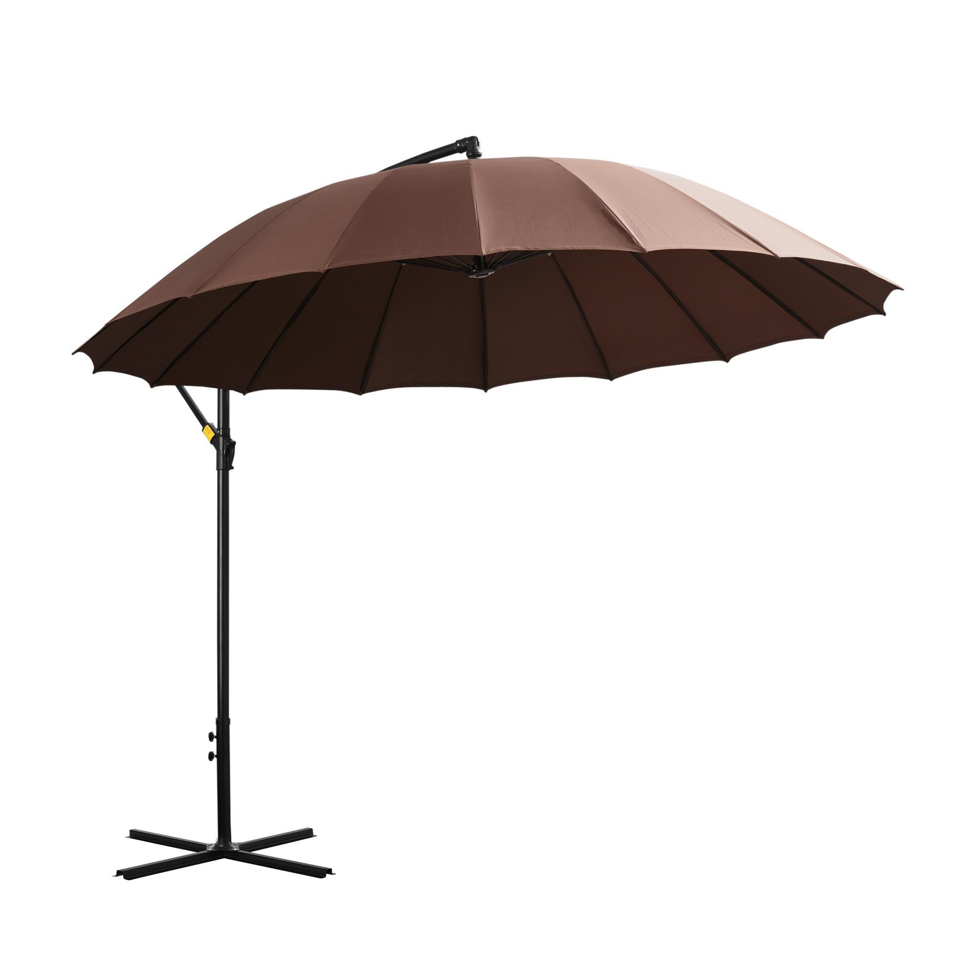 Parasol déporté rond inclinable chocolat