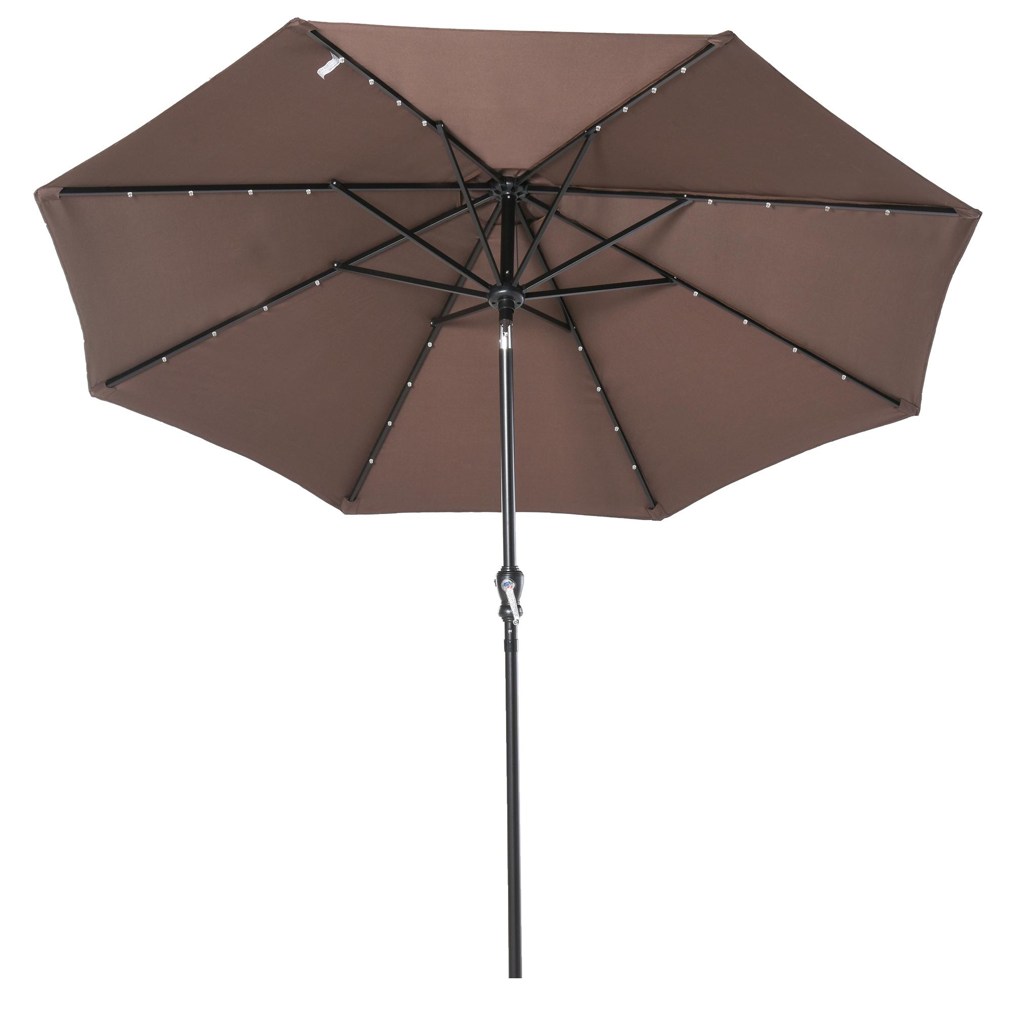 Parasol lumineux octogonal inclinable chocolat