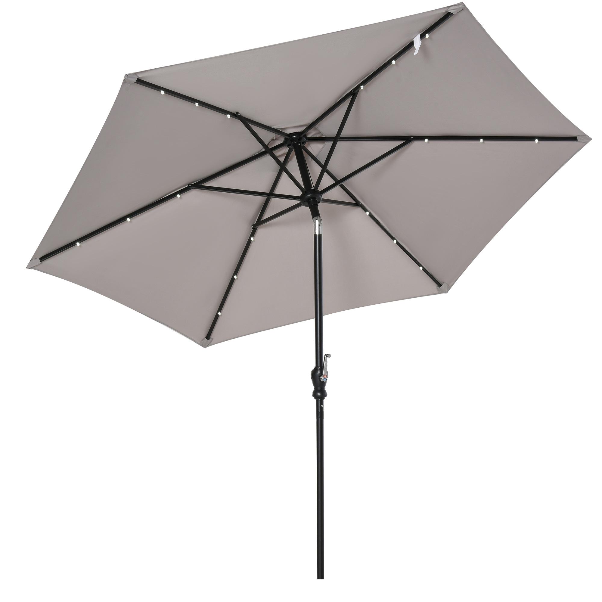 Parasol lumineux hexagonal inclinable parasol LED gris