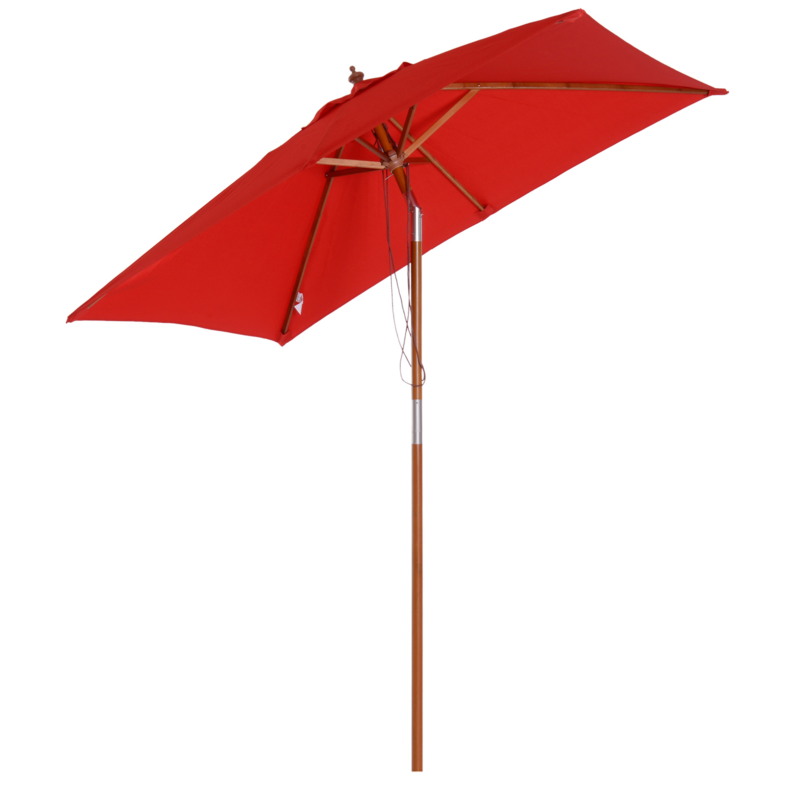 Parasol rectangulaire inclinable rouge