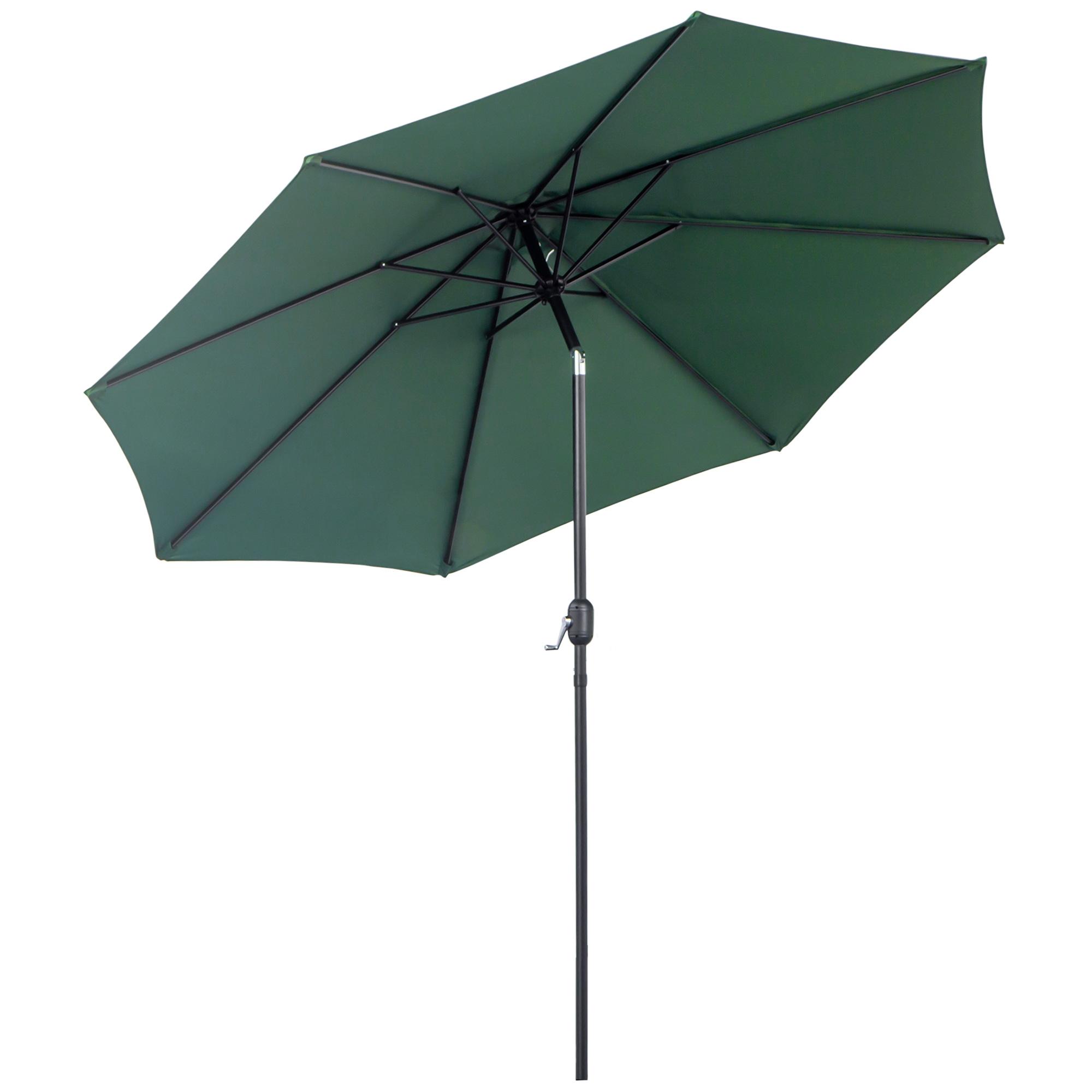 Parasol en aluminium rond inclinable vert
