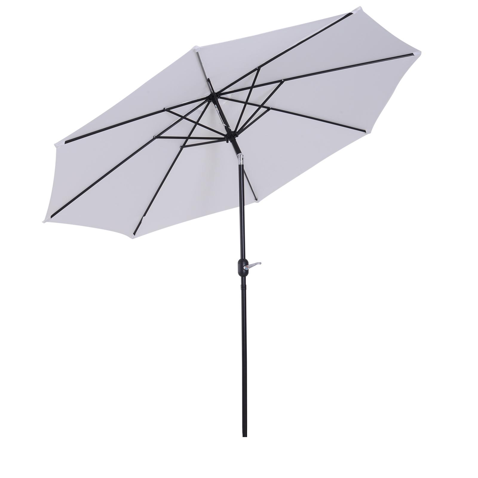 Parasol en aluminium rond inclinable blanc
