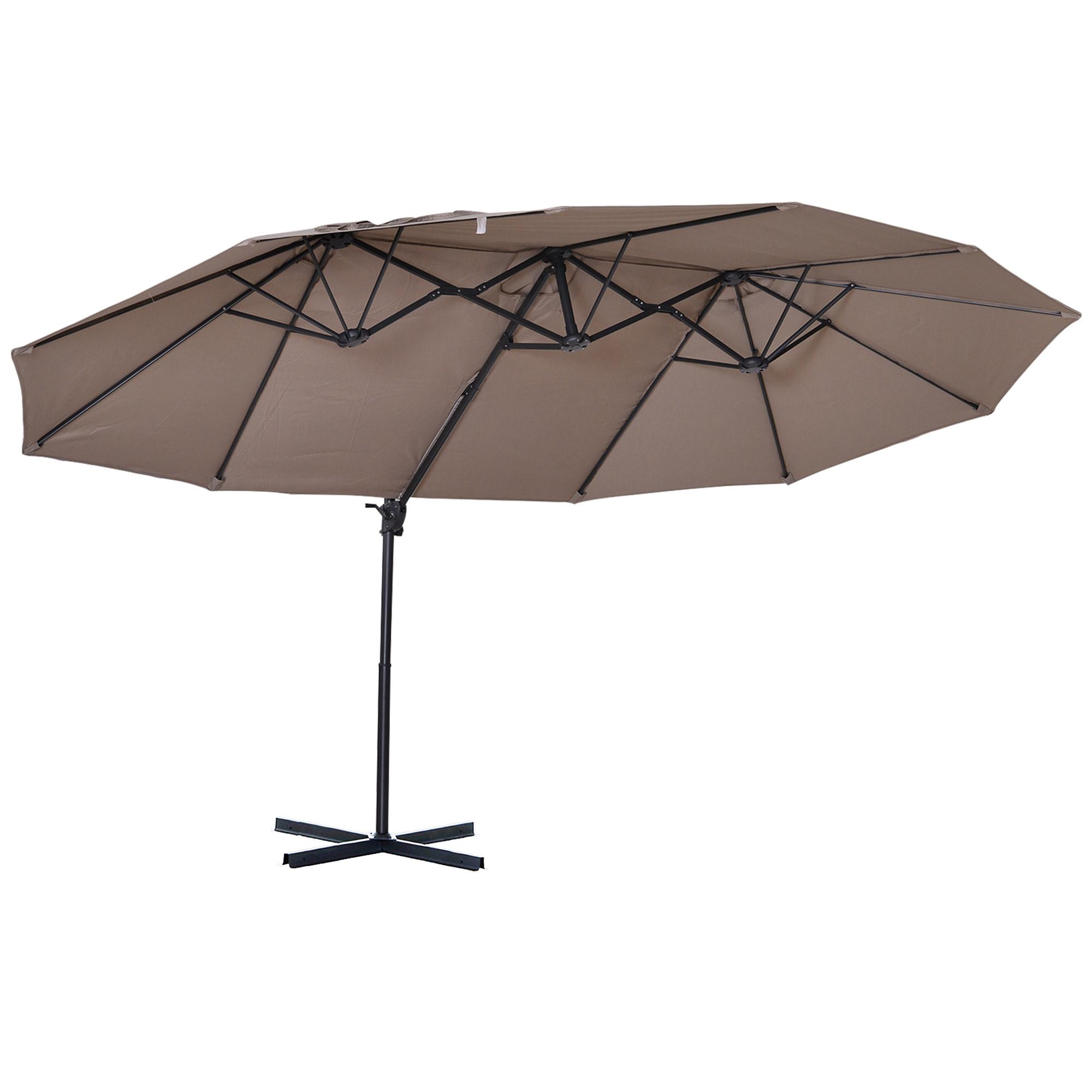Parasol déporté grande taille inclinable marron
