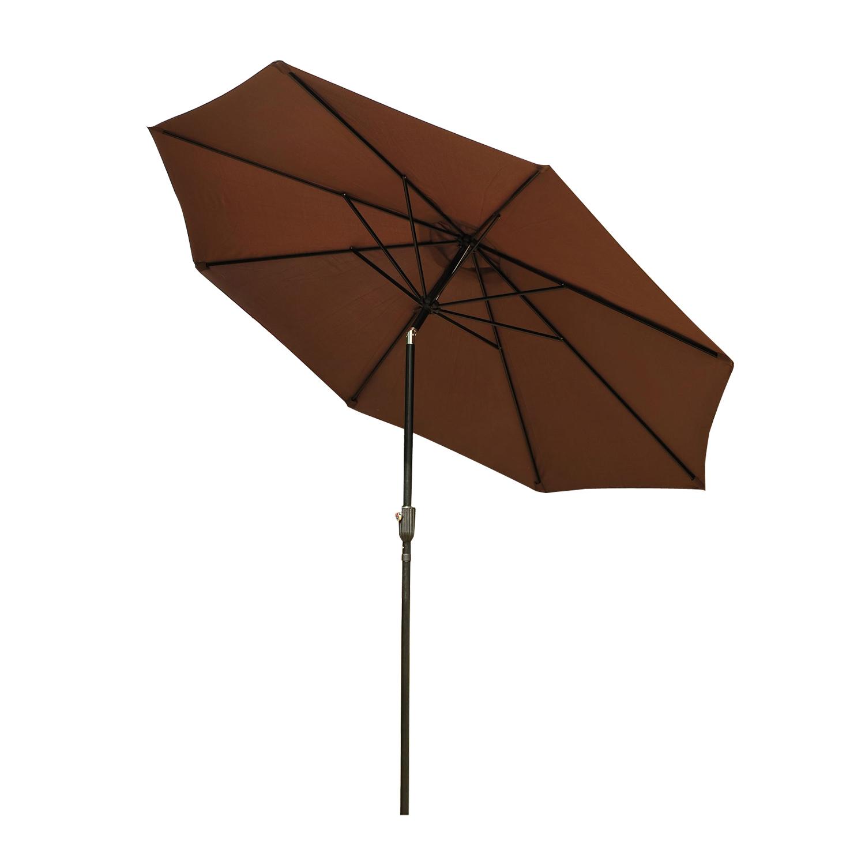Parasol en aluminium rond inclinable chocolat