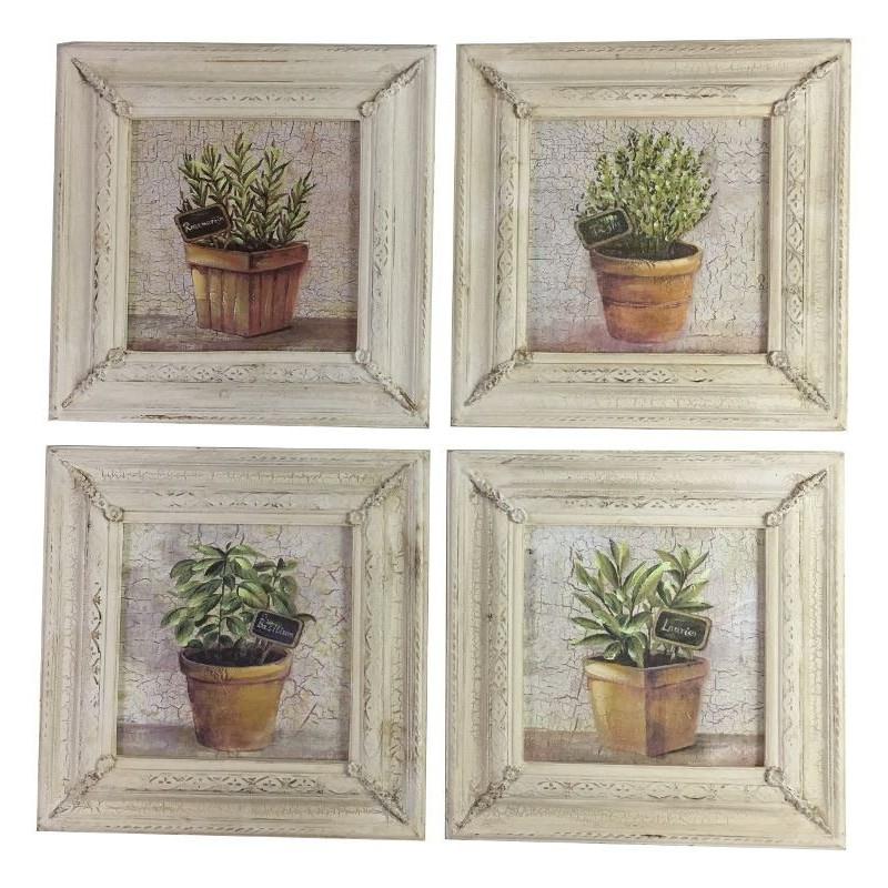 Lot de 4 tableaux cadres bois peint plantes aromatiques (photo)