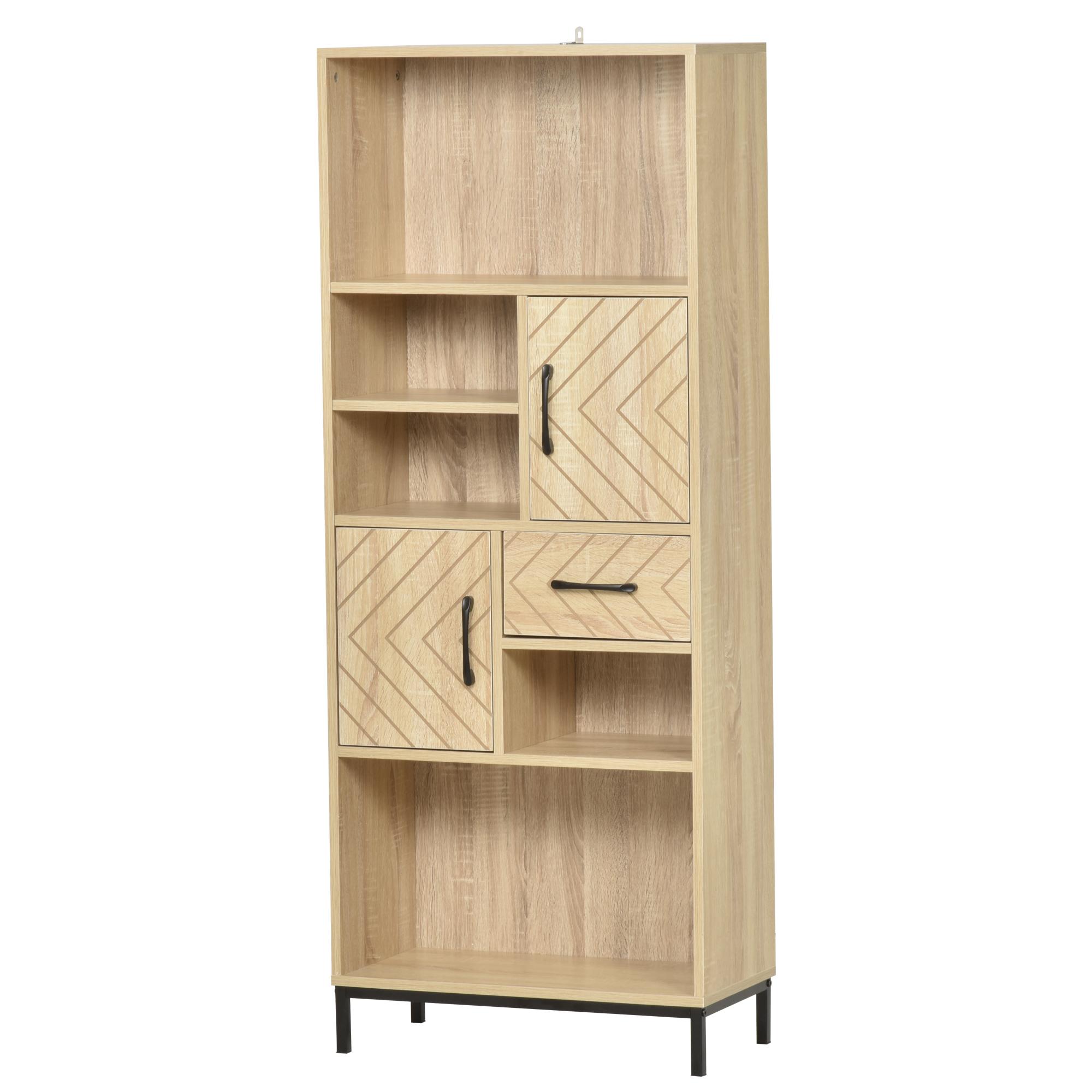 Bibliothèque 2 étagères avec niches et tiroir en chêne