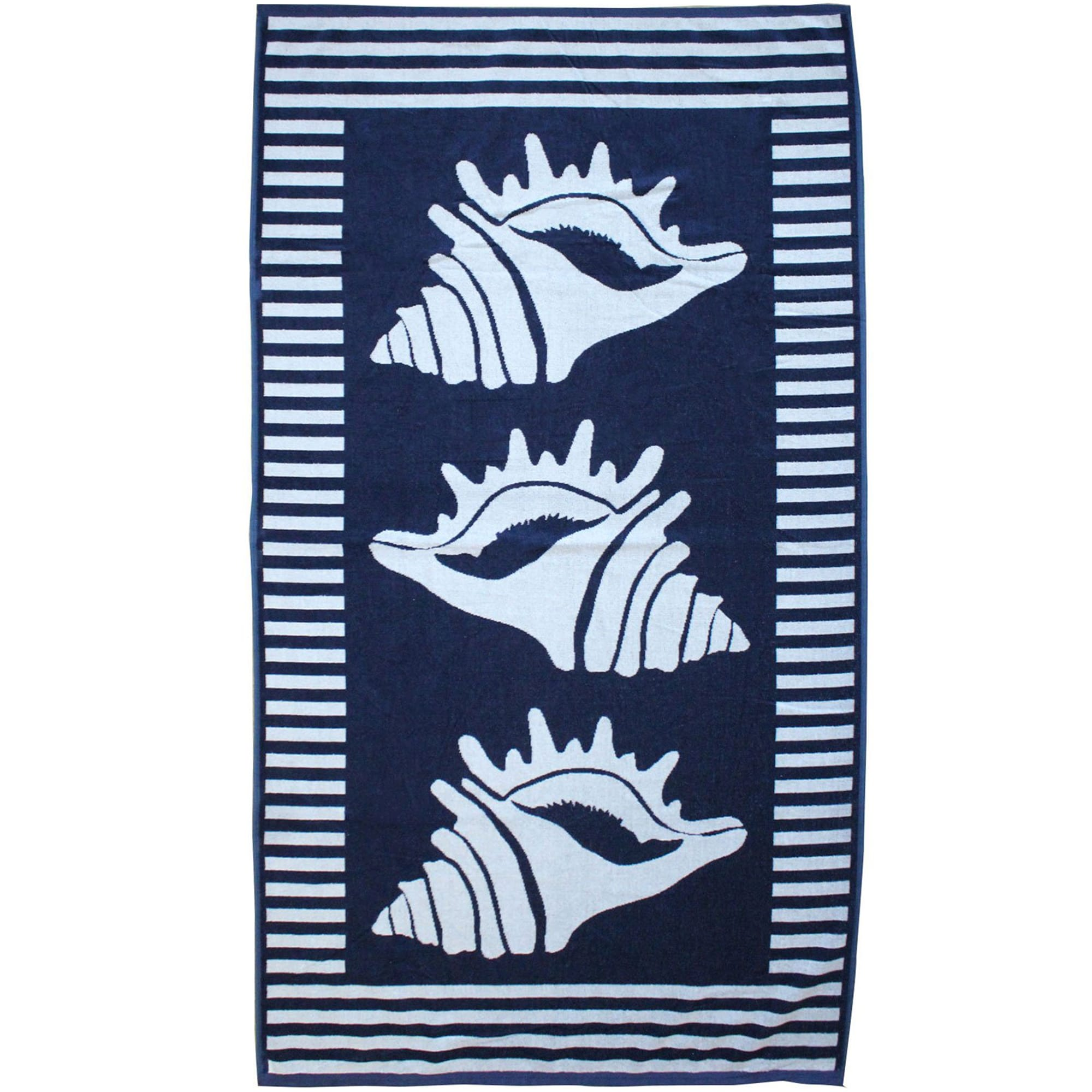Serviette de plage éponge velours bleu marine escudo 90 x 170