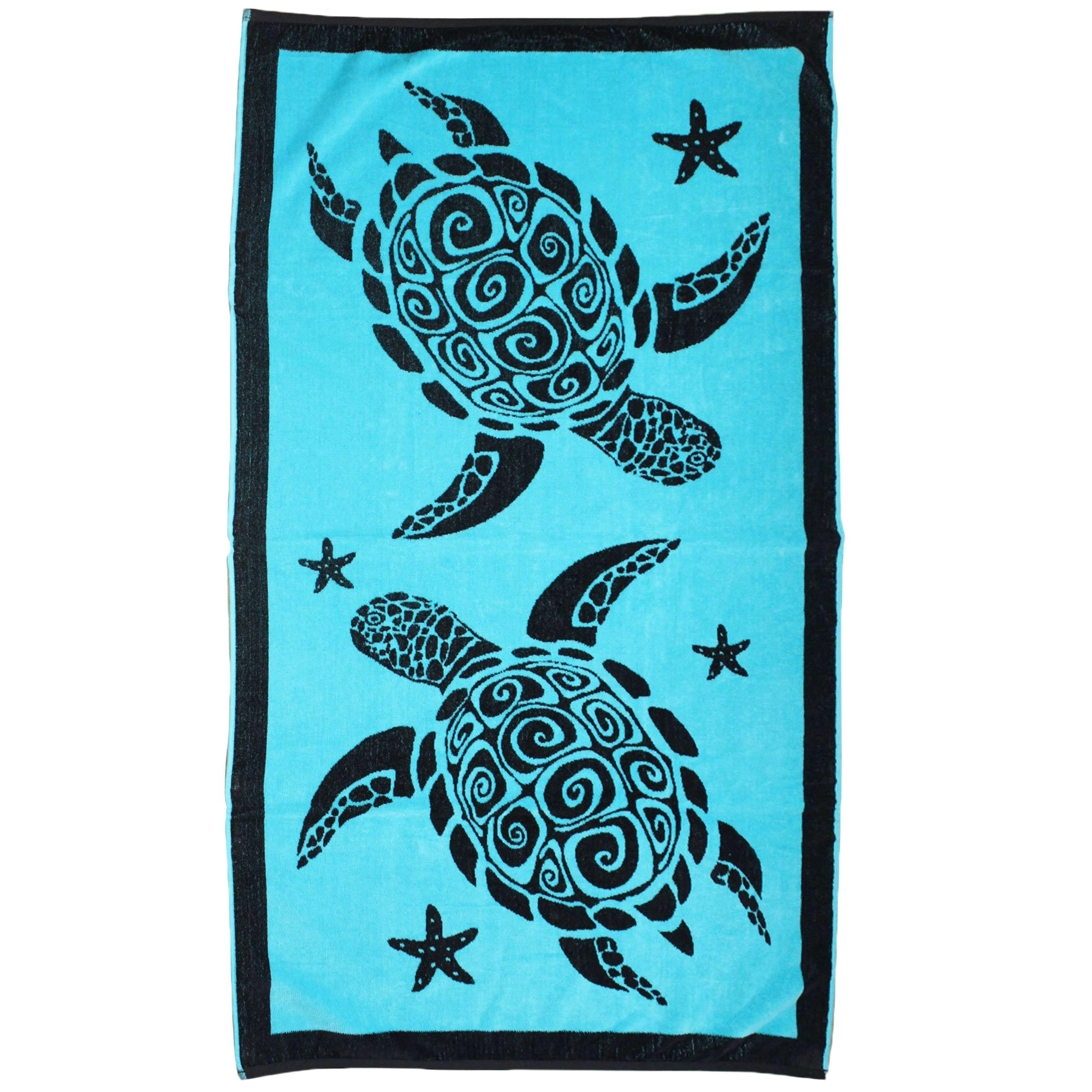 Serviette de plage éponge velours bleu turquoise alagoas 90 x 170