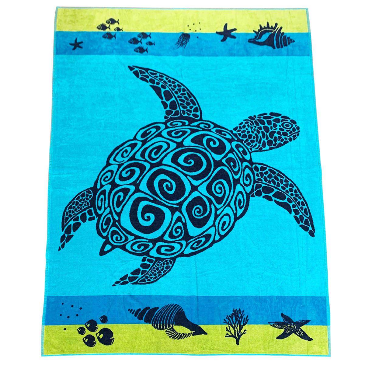 Serviette de plage éponge velours bleu warwick 140 x 200