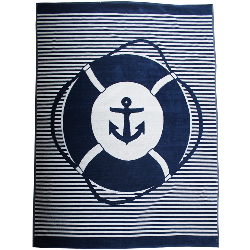 Serviette de plage éponge velours bleu marine sail&go 140 x 180
