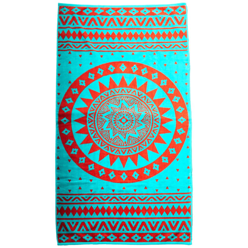 Serviette de plage éponge velours bleu mandala 90 x 170