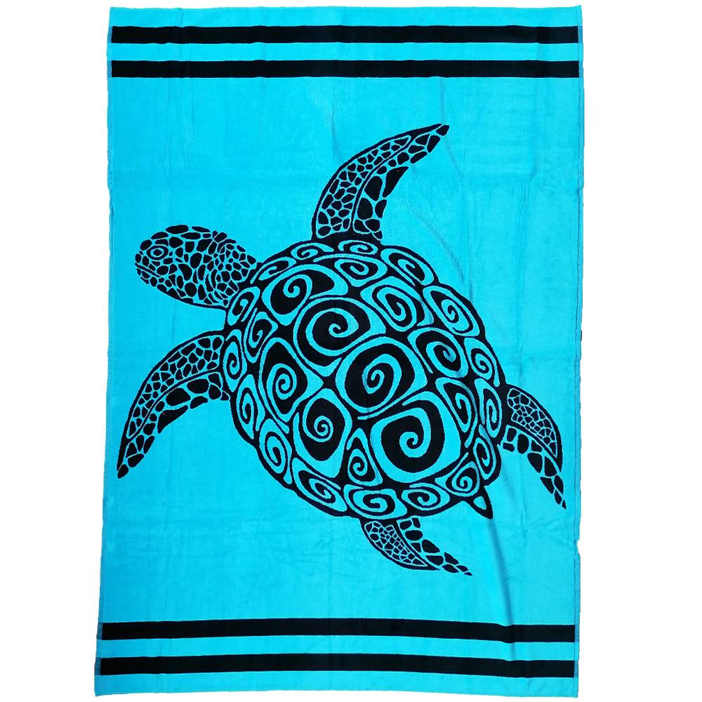 Serviette de plage éponge velours bleu lajolla 140 x 200