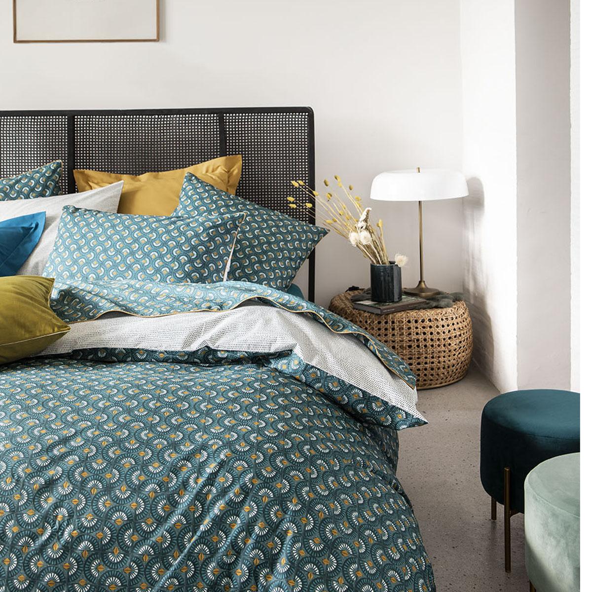 Parure de lit imprimée en percale de coton émeraude 200x200