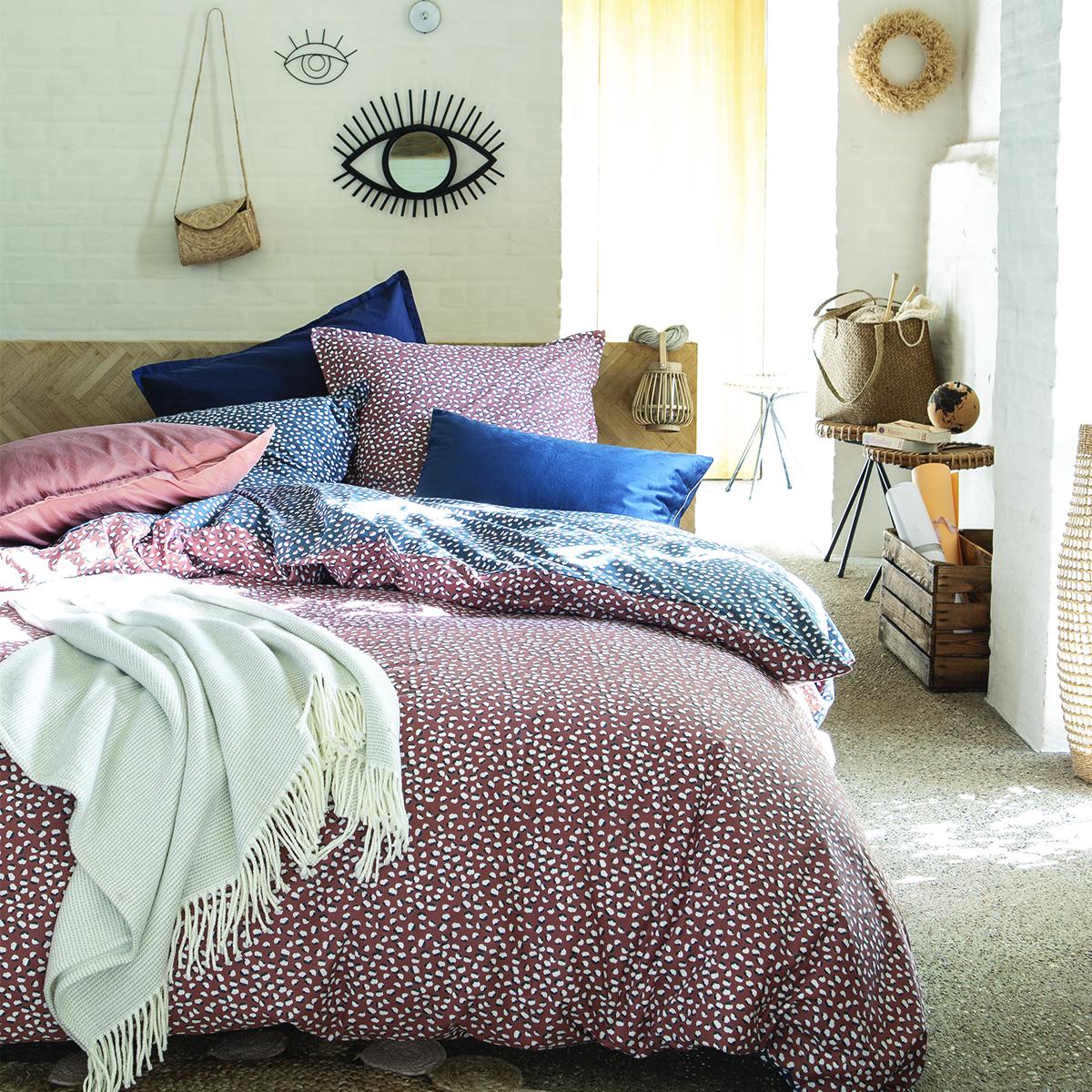 Parure de lit imprimée en coton bleu 200x200