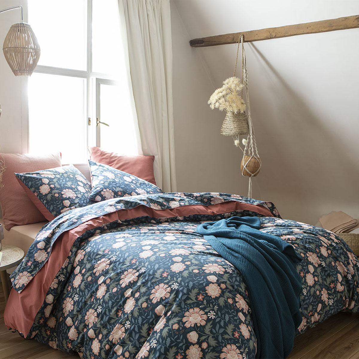 Parure de lit imprimée en percale de coton bleu nuit 200x200