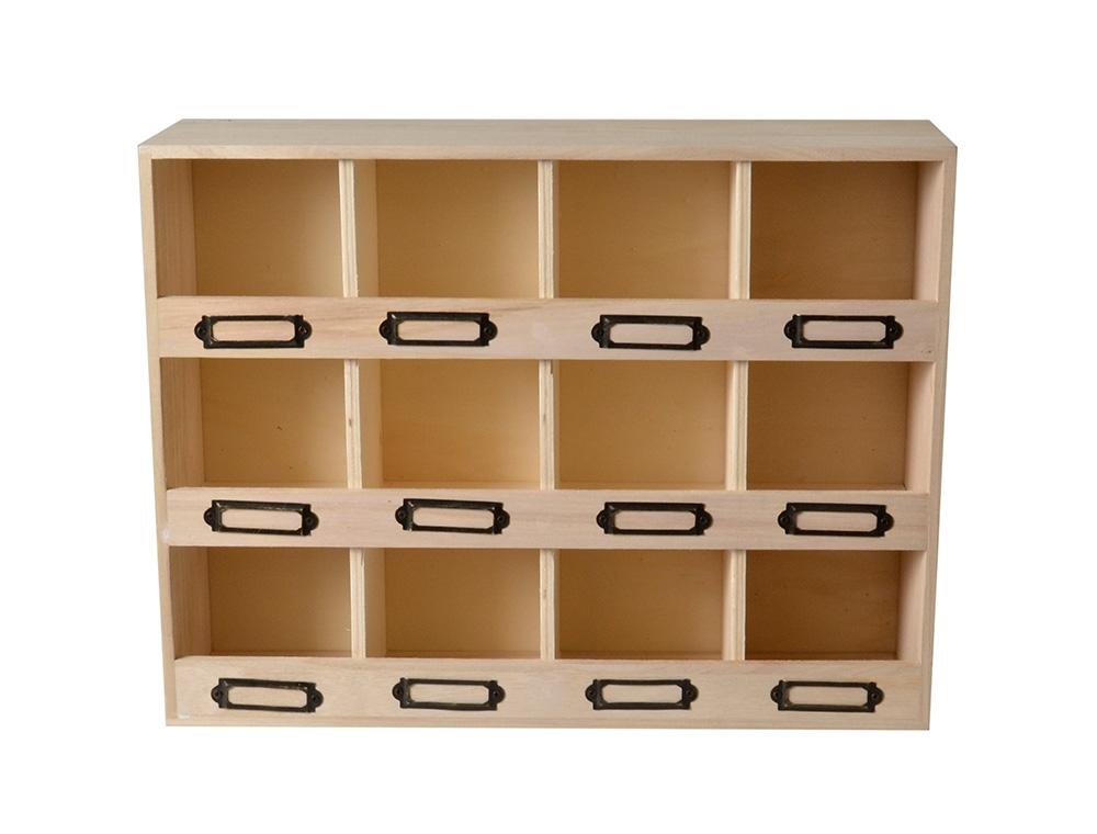Casier de rangement en bois 12 emplacements 39,5x29,5x22cm