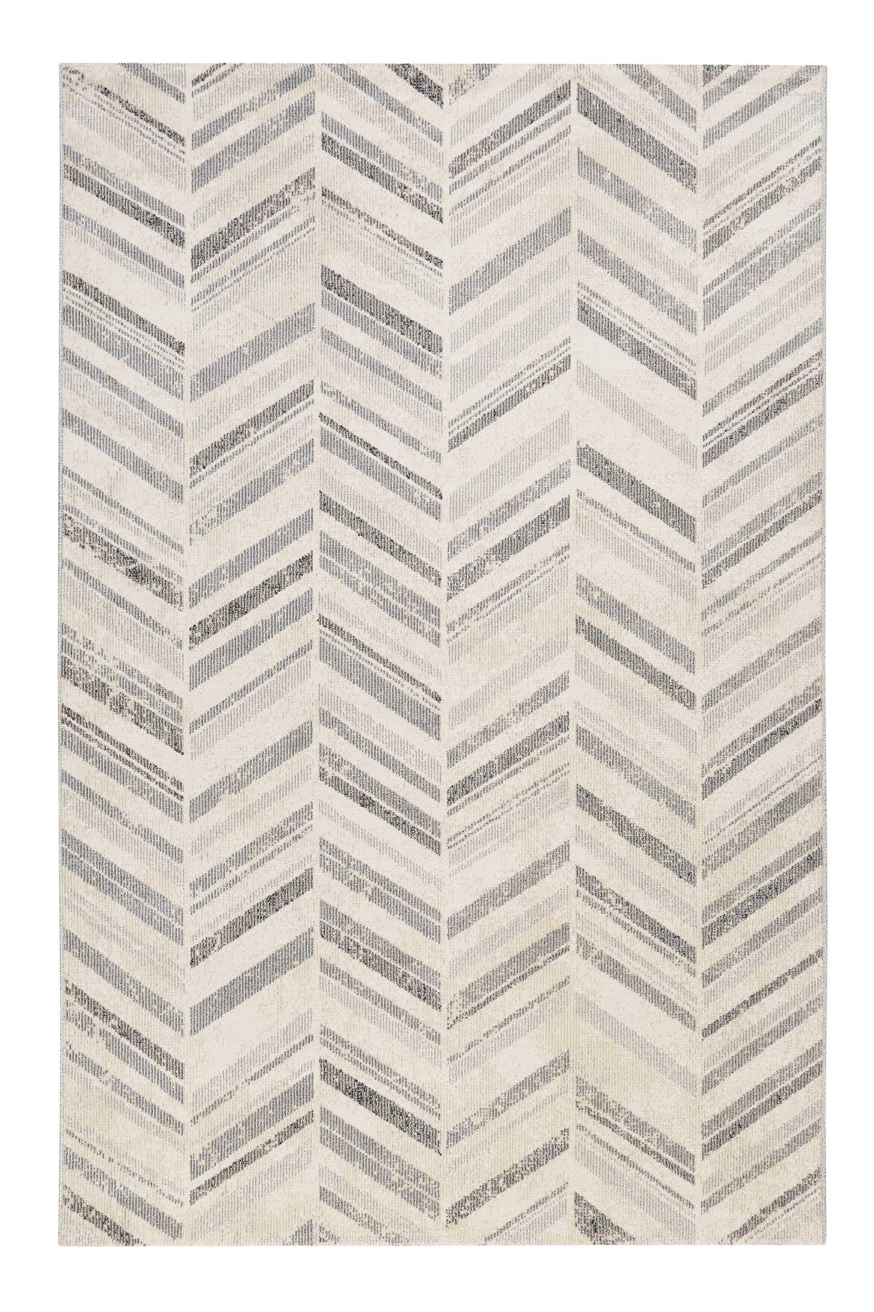 Tapis in/outdoor tissé plat motif chevrons vintage gris 120x170
