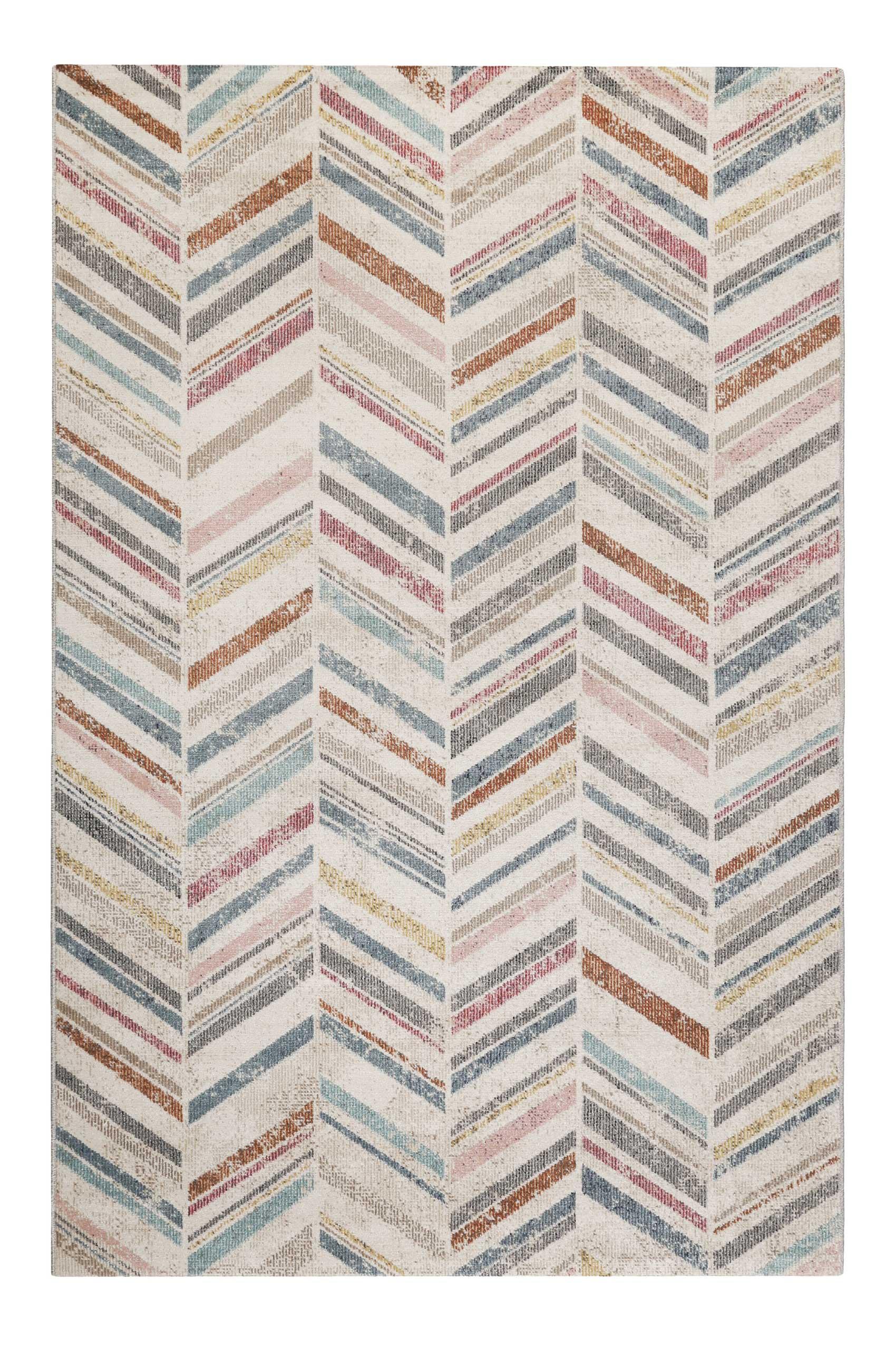 Tapis in/outdoor tissé plat motif chevrons vintage coloré 120x170