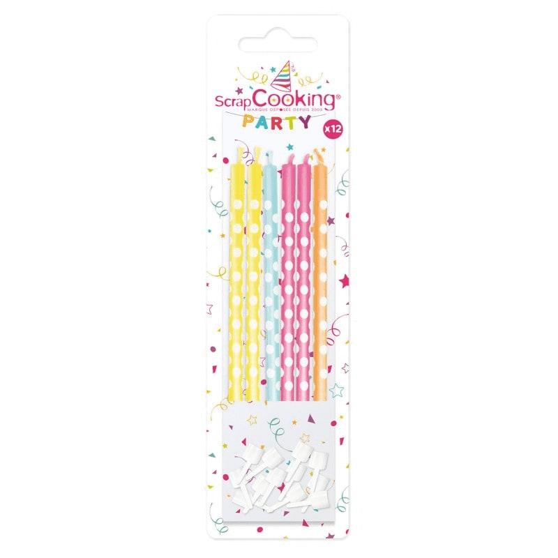12 bougies multicolores à pois blancs