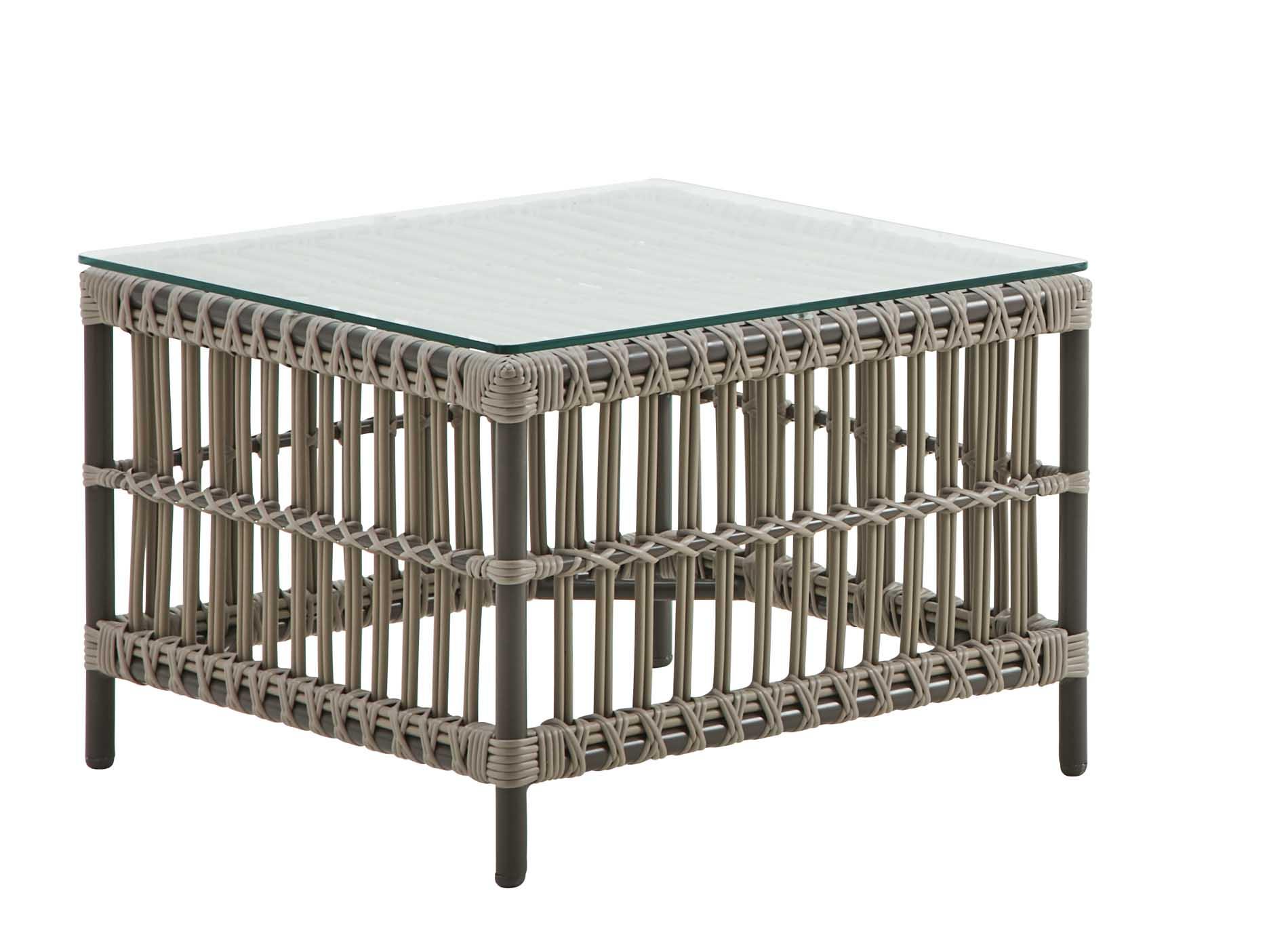 Table basse carrée en alu et fibre synthétique moccaccino