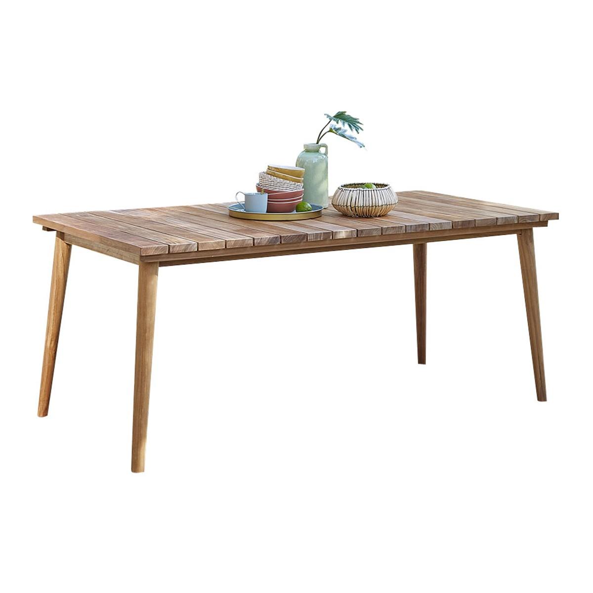 Table de jardin rectangulaire en teck 6/8 personnes