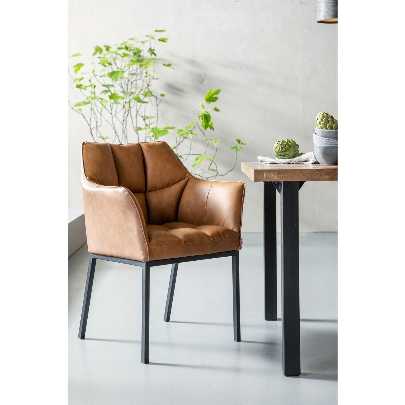 Chaise avec accoudoirs en cuir marron et acier