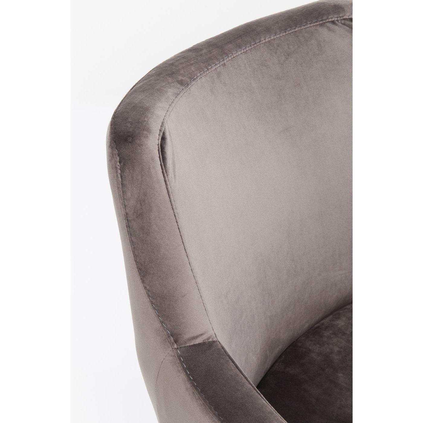Chaise avec accoudoirs en velours gris et hêtre laqué noir