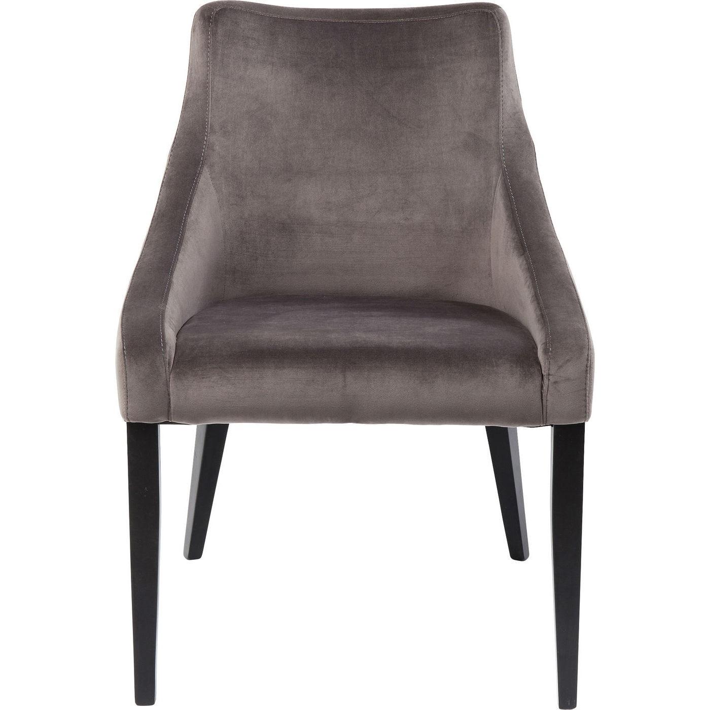Chaise en velours gris et hêtre laqué noir