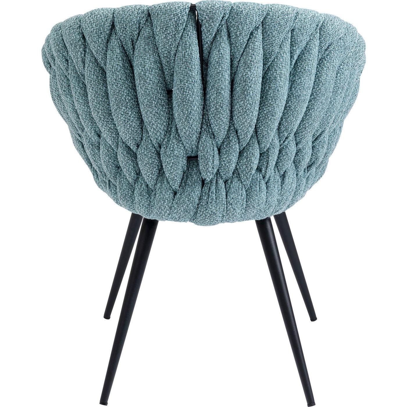Chaise avec accoudoirs bicolore bleu-vert et acier