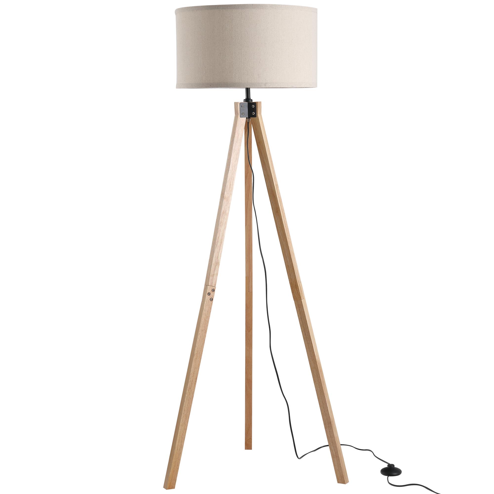 Lampadaire trépied style scandinave H152 cm bois de pin lin beige