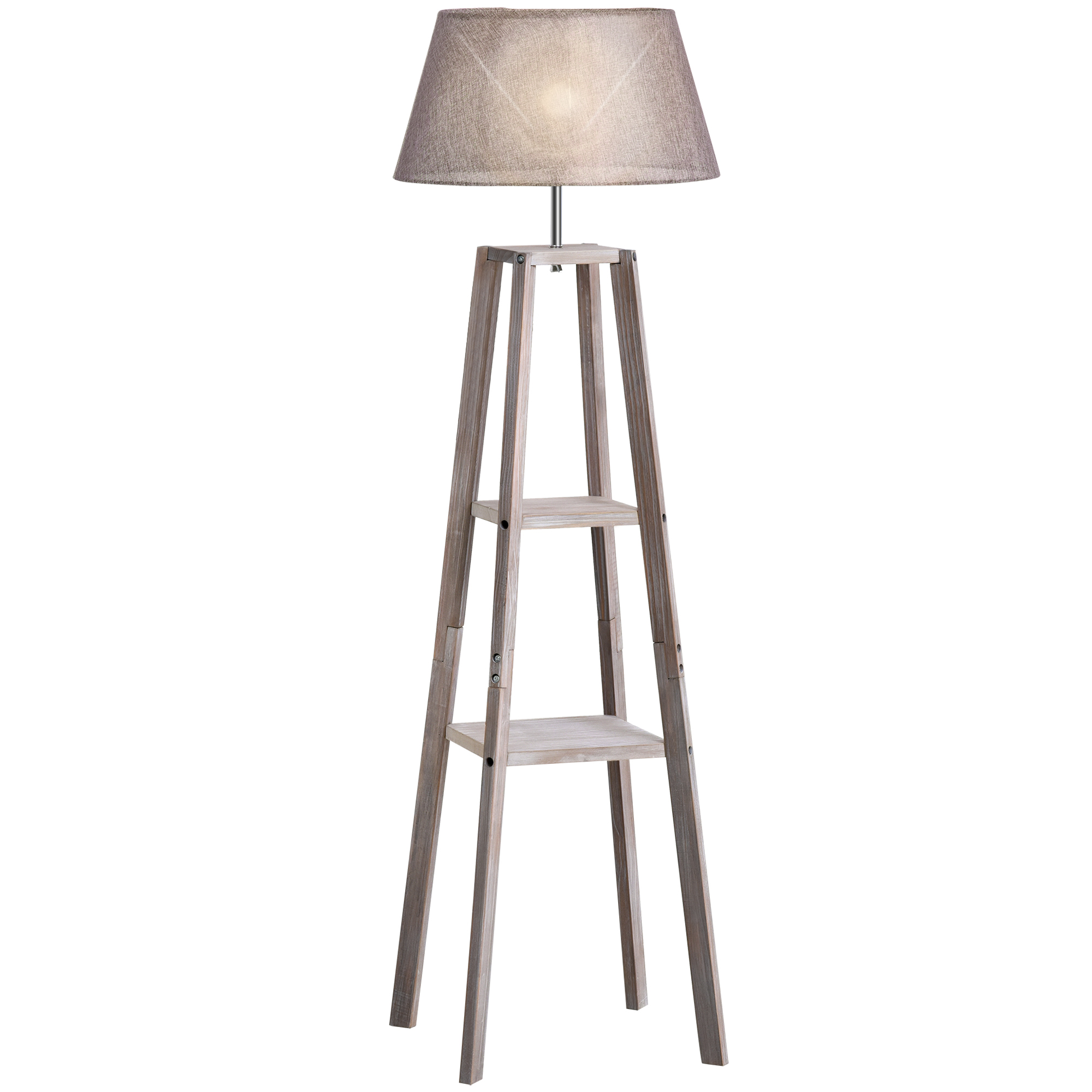 Lampadaire design contemporain 2 étagères H148 cm pin lin gris