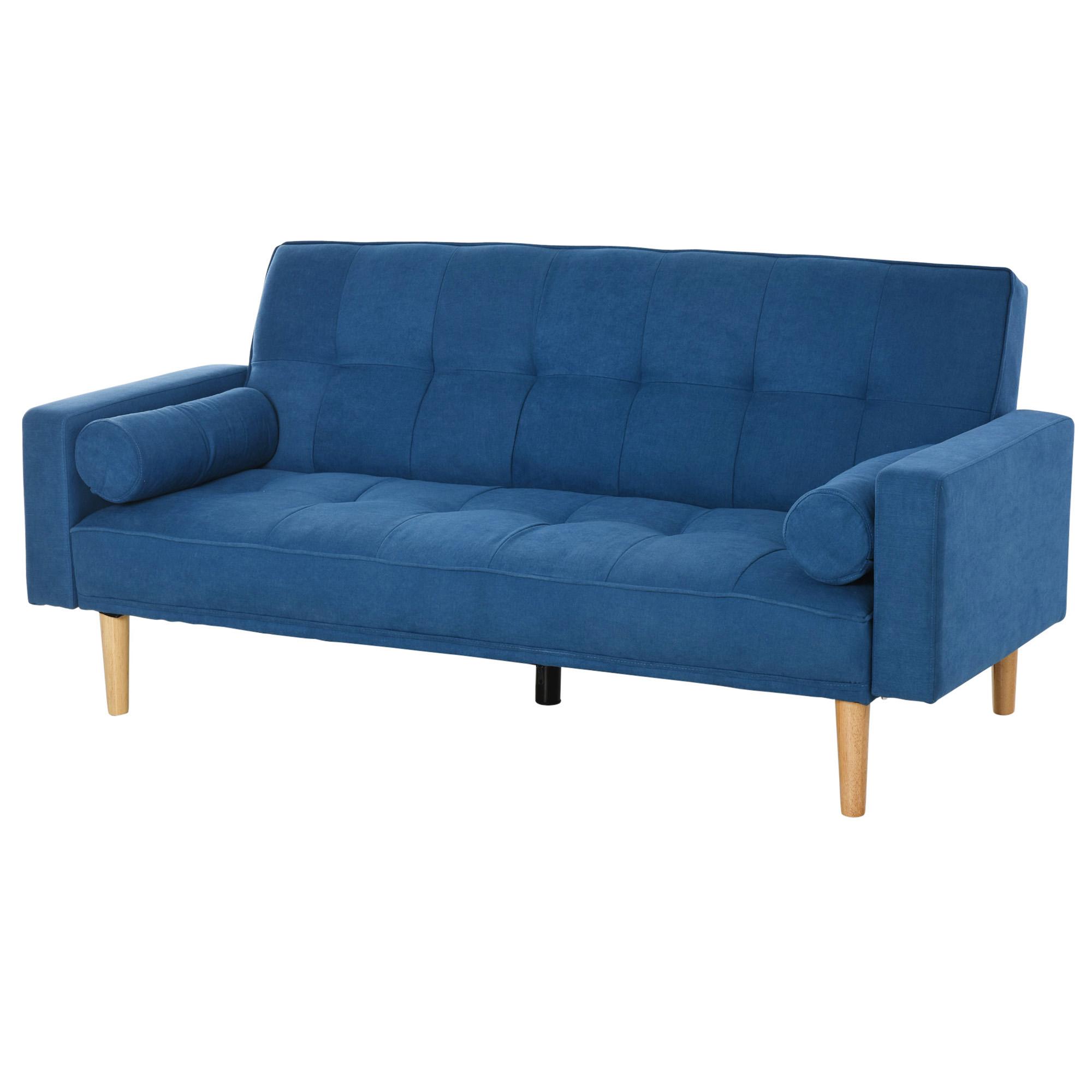 Canapé droit 3 places Bleu Tissu Pas cher Design Confort