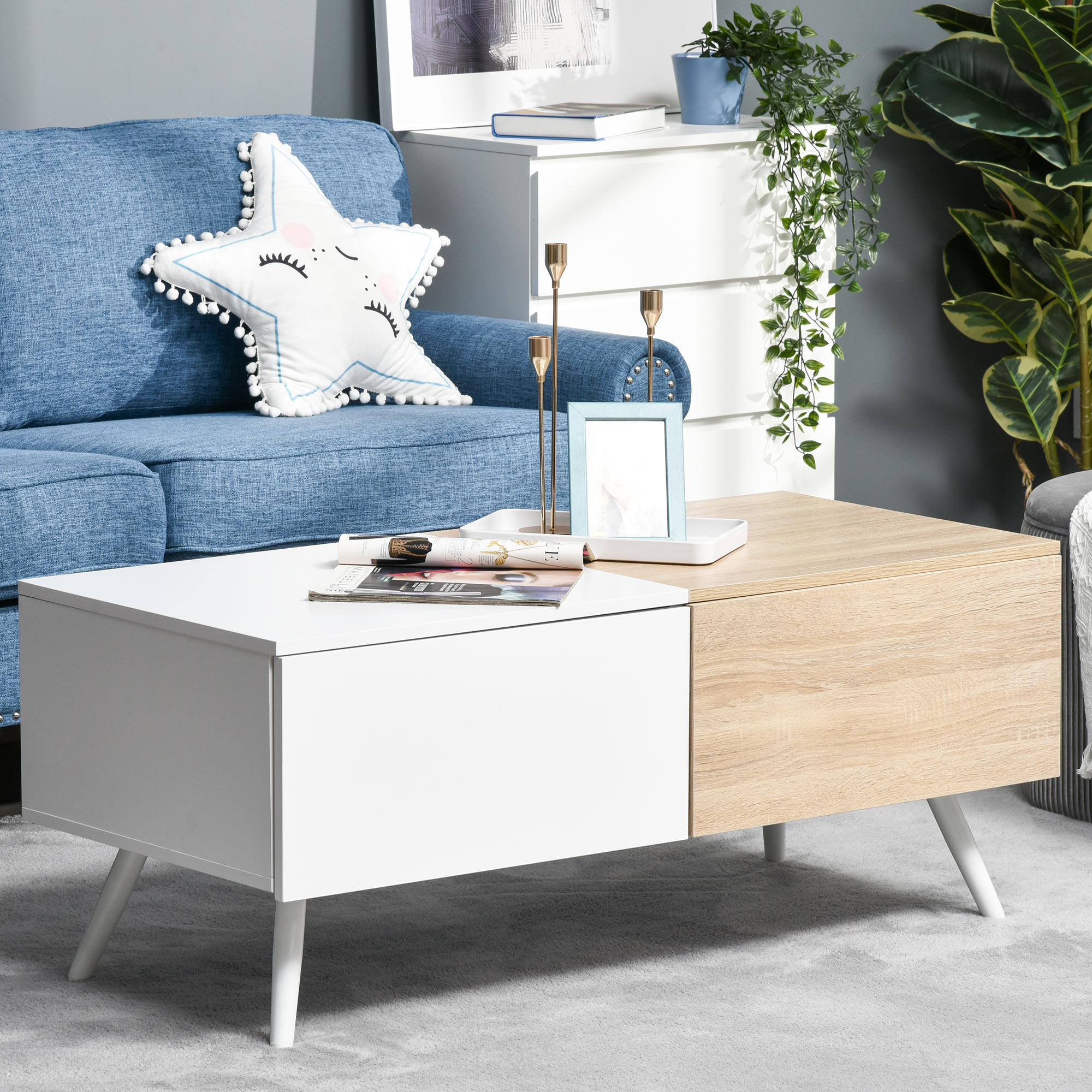 Table basse rectangulaire 2 tiroirs métal MDF blanc bois clair