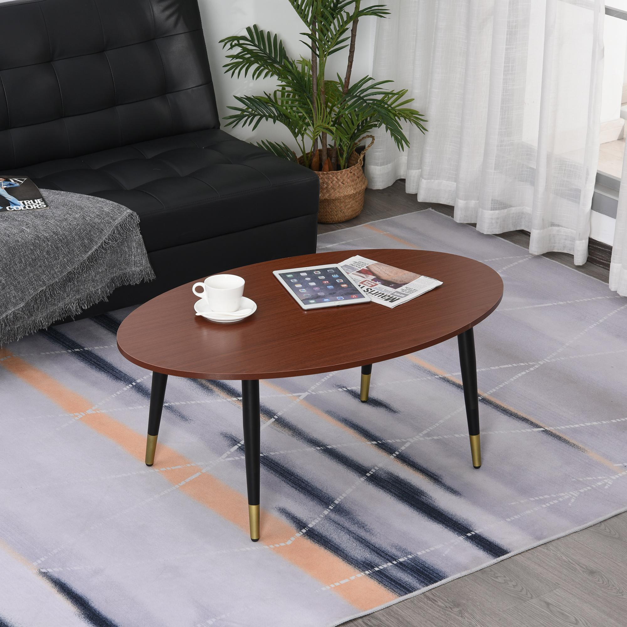 Table basse ovale style néo-rétro bas pieds dorés aspect teck foncé