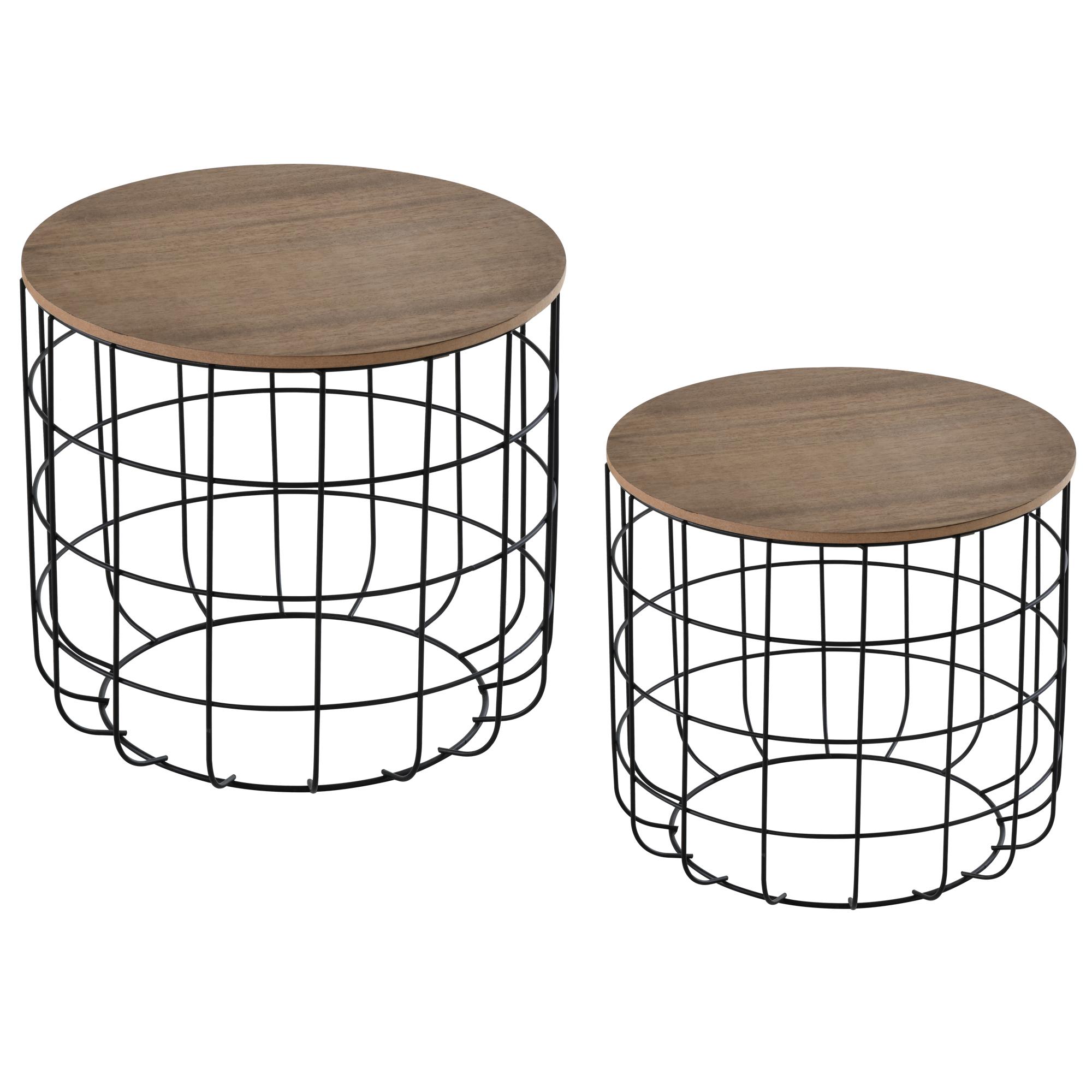 Lot de 2 tables basses gigognes encastrables noir bois