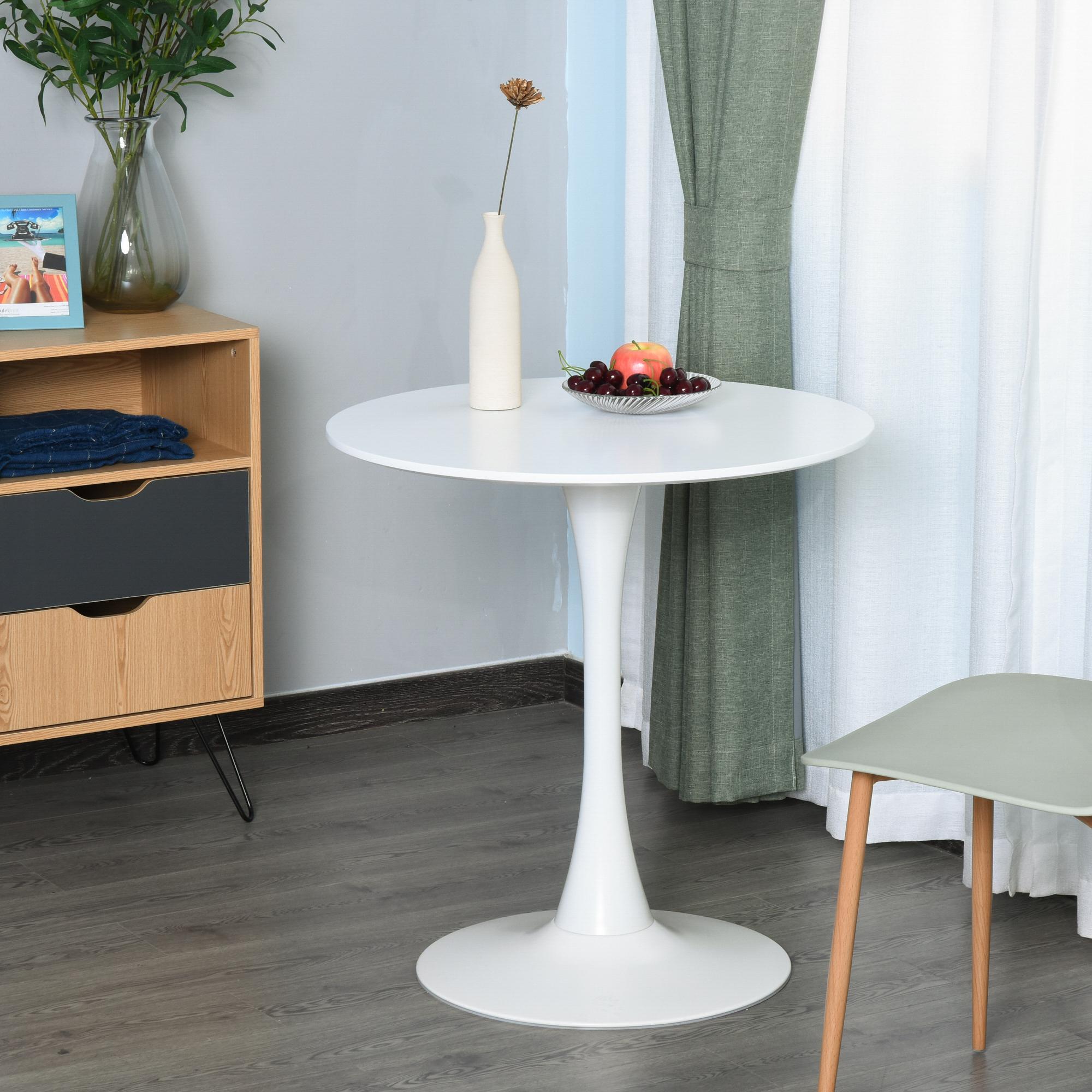 Table ronde tulipe design métal MDF blanc D60cm