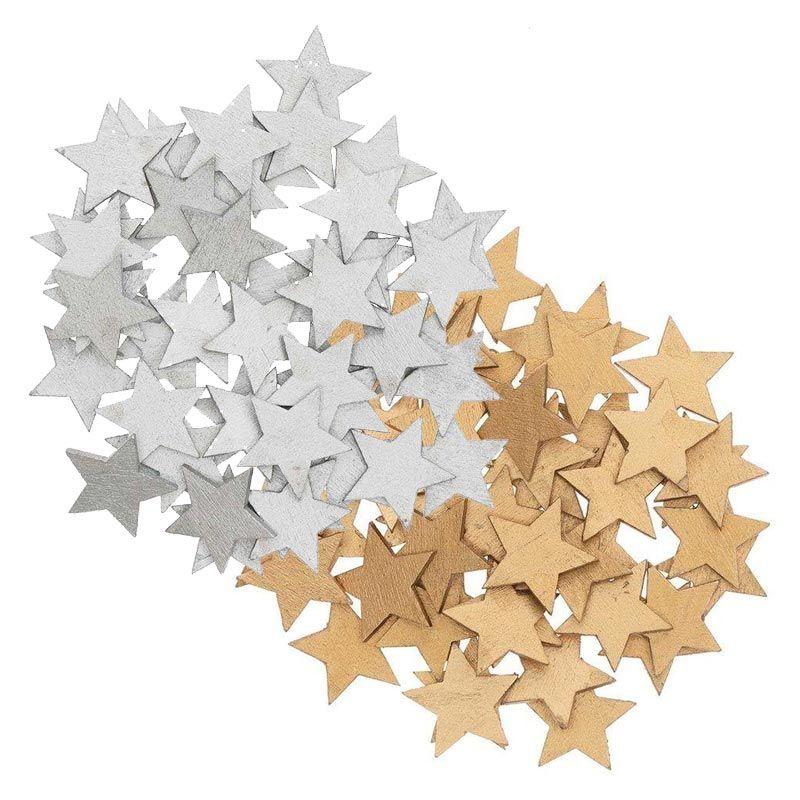 Confettis étoiles en bois or et argent