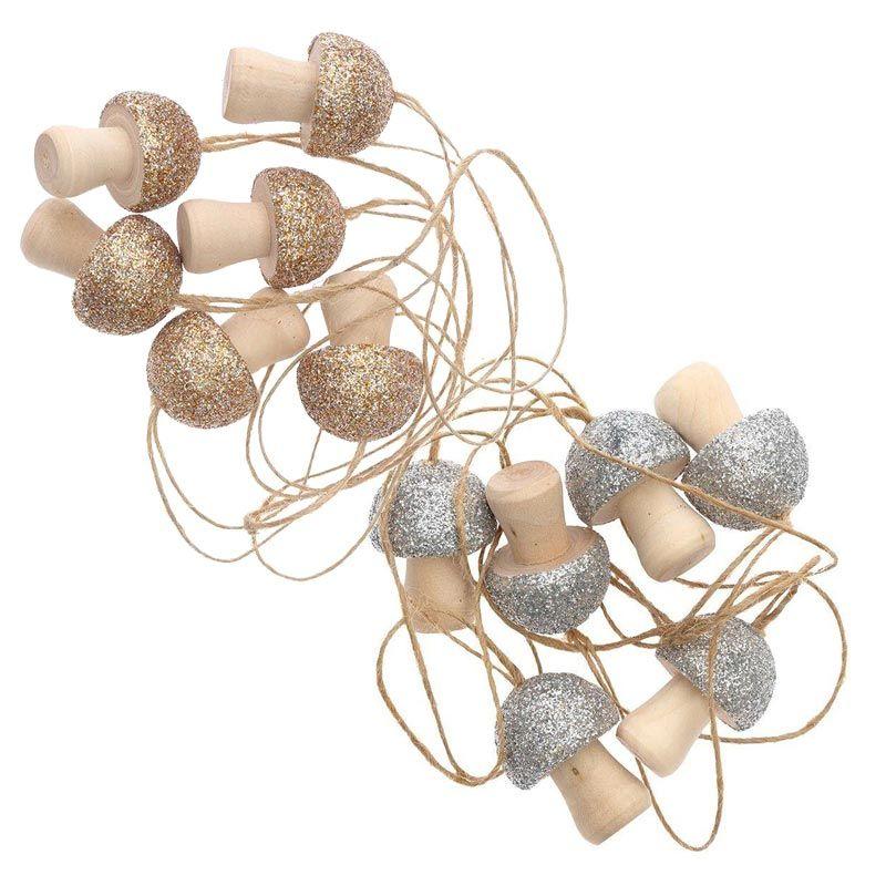 12 petits champignons en bois à suspendre or et argent