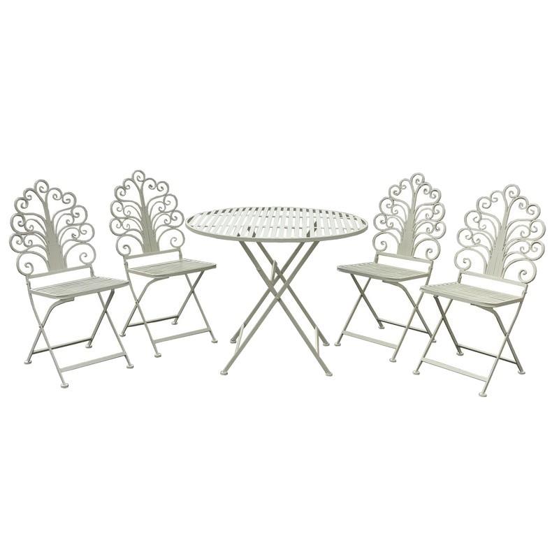 Ensemble salon de jardin fer pliable pliable blanc