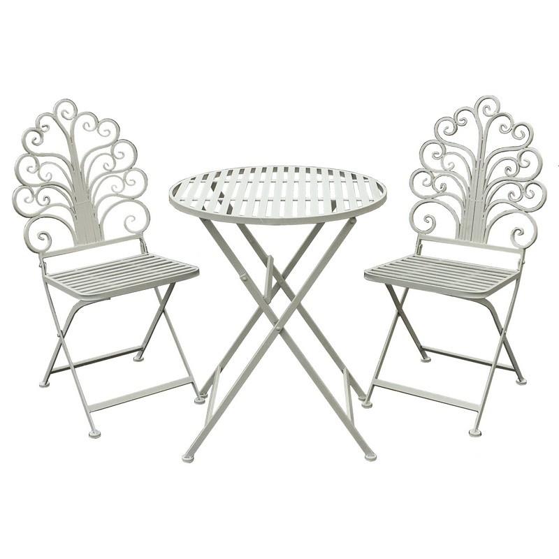 Ensemble salon de jardin fer pliable blanc