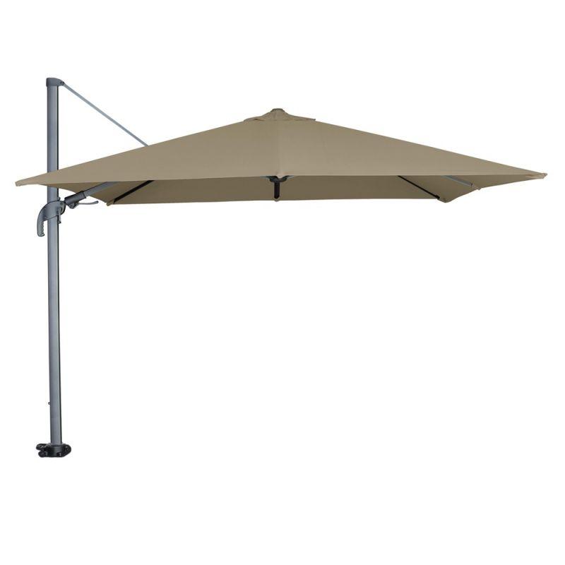 Parasol déporté avec LED intégrées taupe