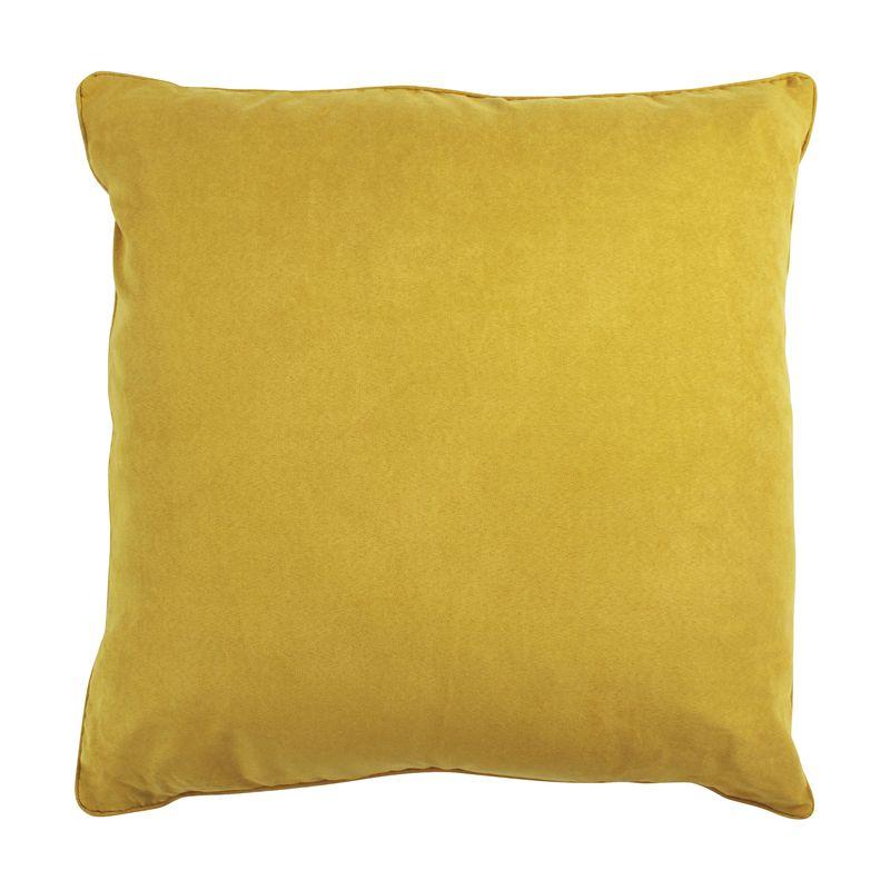 Coussin de sol en suédine jaune 70x70