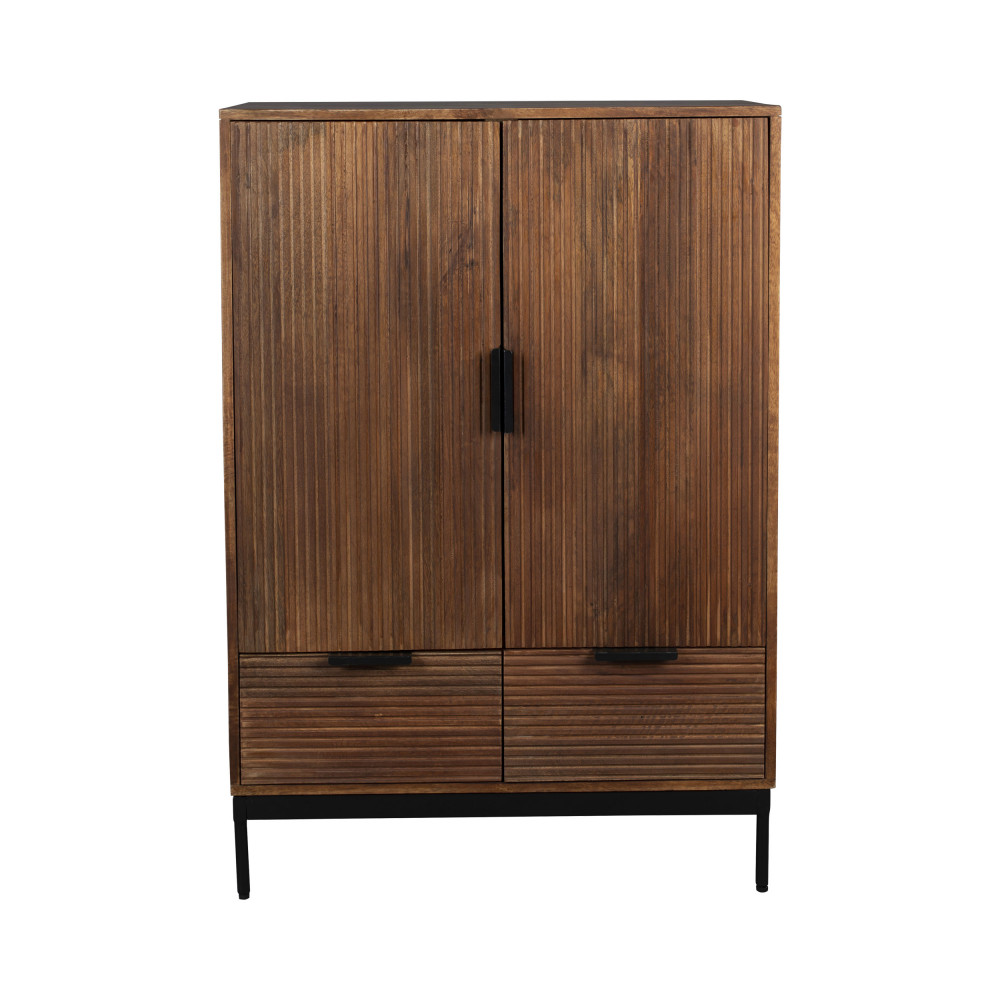 Buffet 2 portes 2 tiroirs en bois foncé et métal