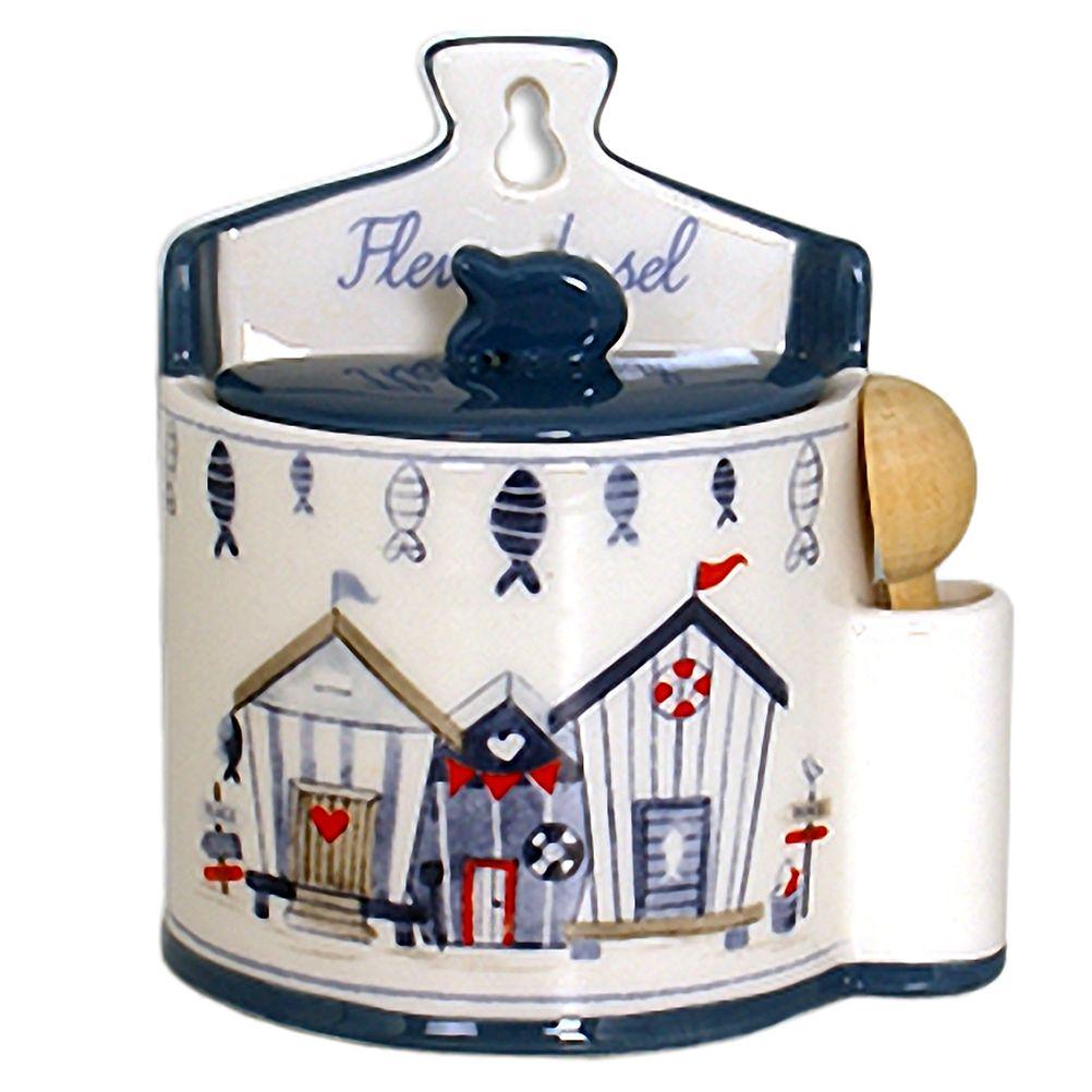 Boite à gros sel en céramique avec cuillère