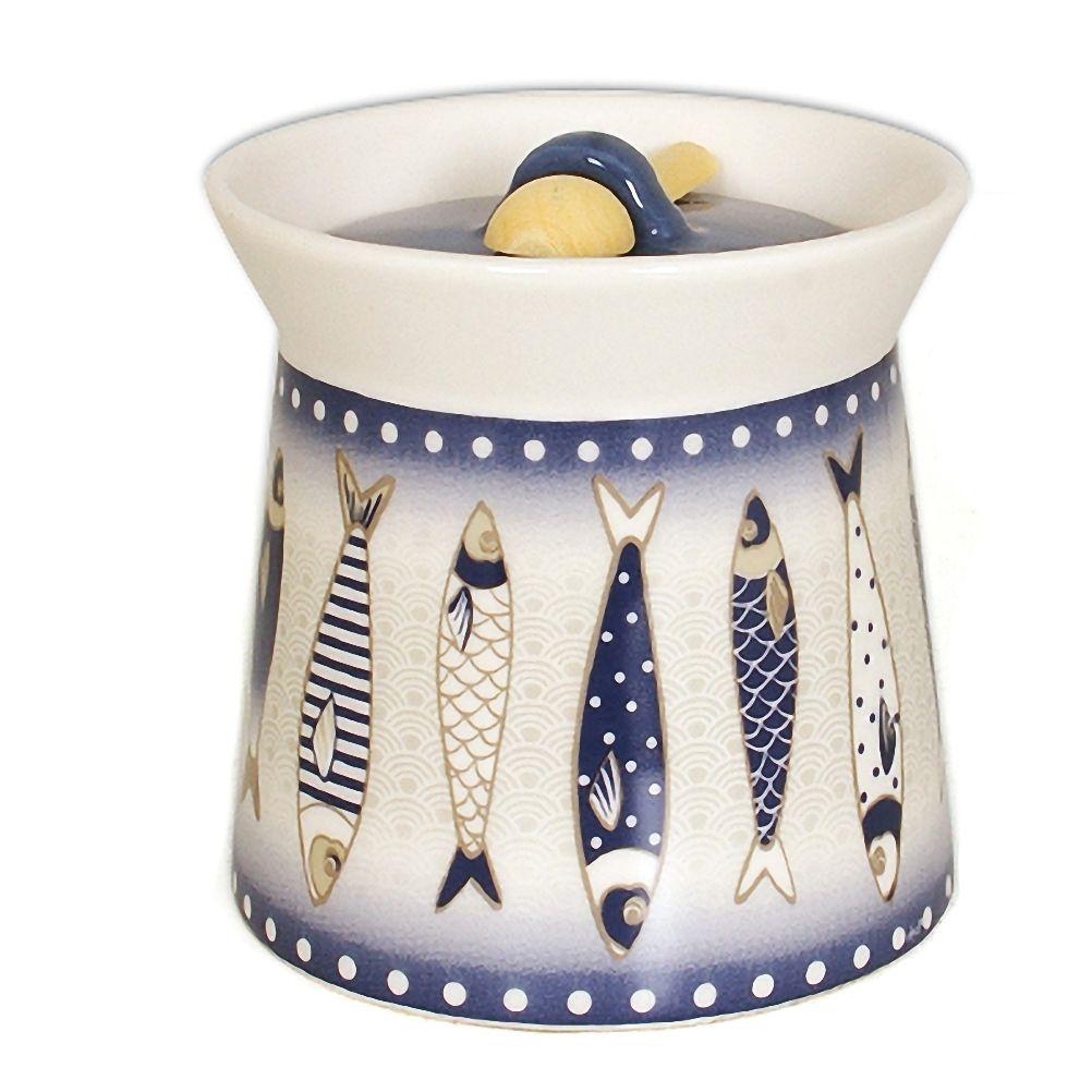 Boîte à gros sel en céramique avec cuillère