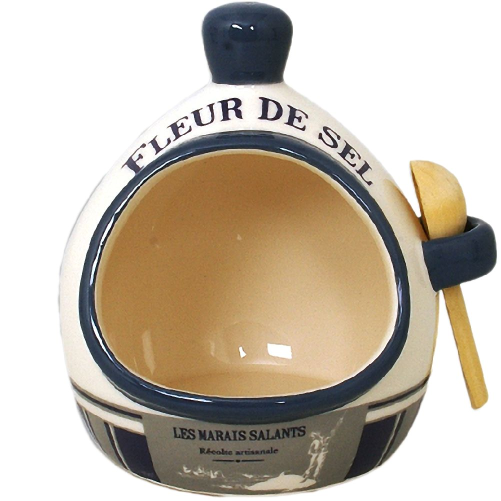 Pot à fleur de sel en céramique avec cuillère