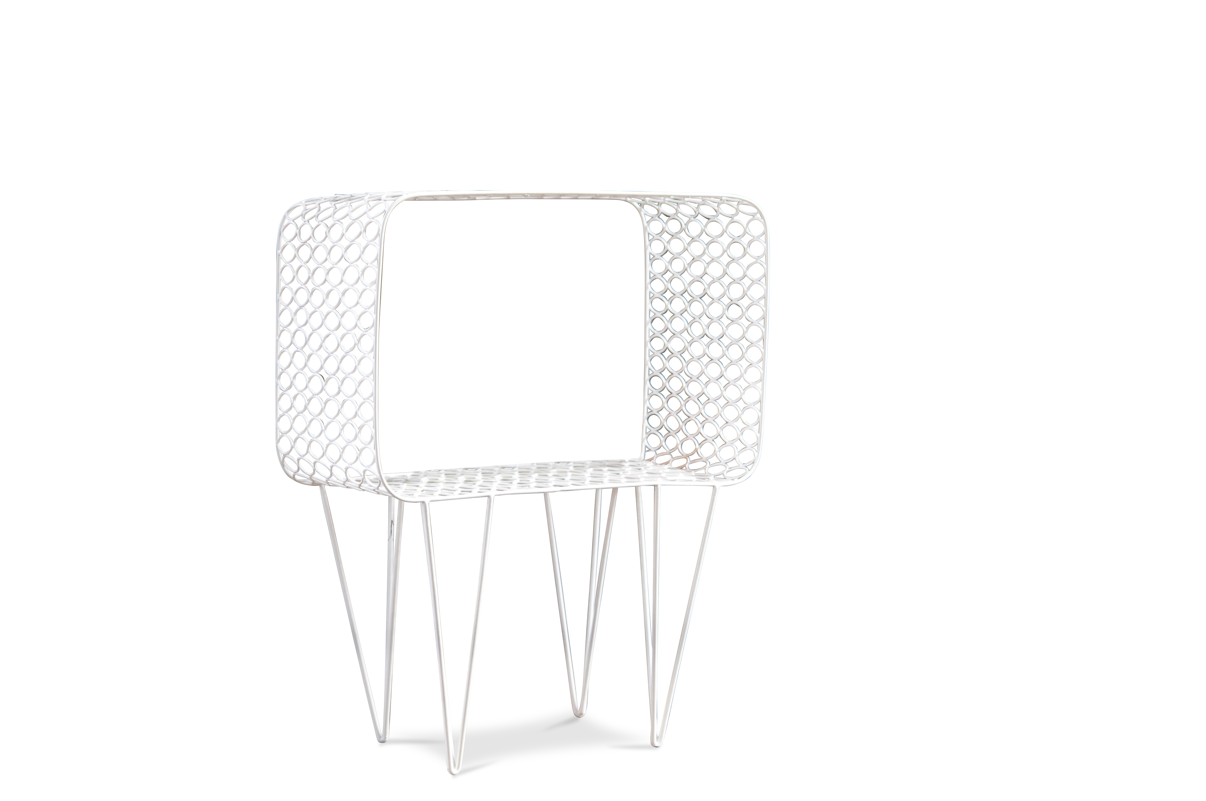 Table d'appoint en métal blanc