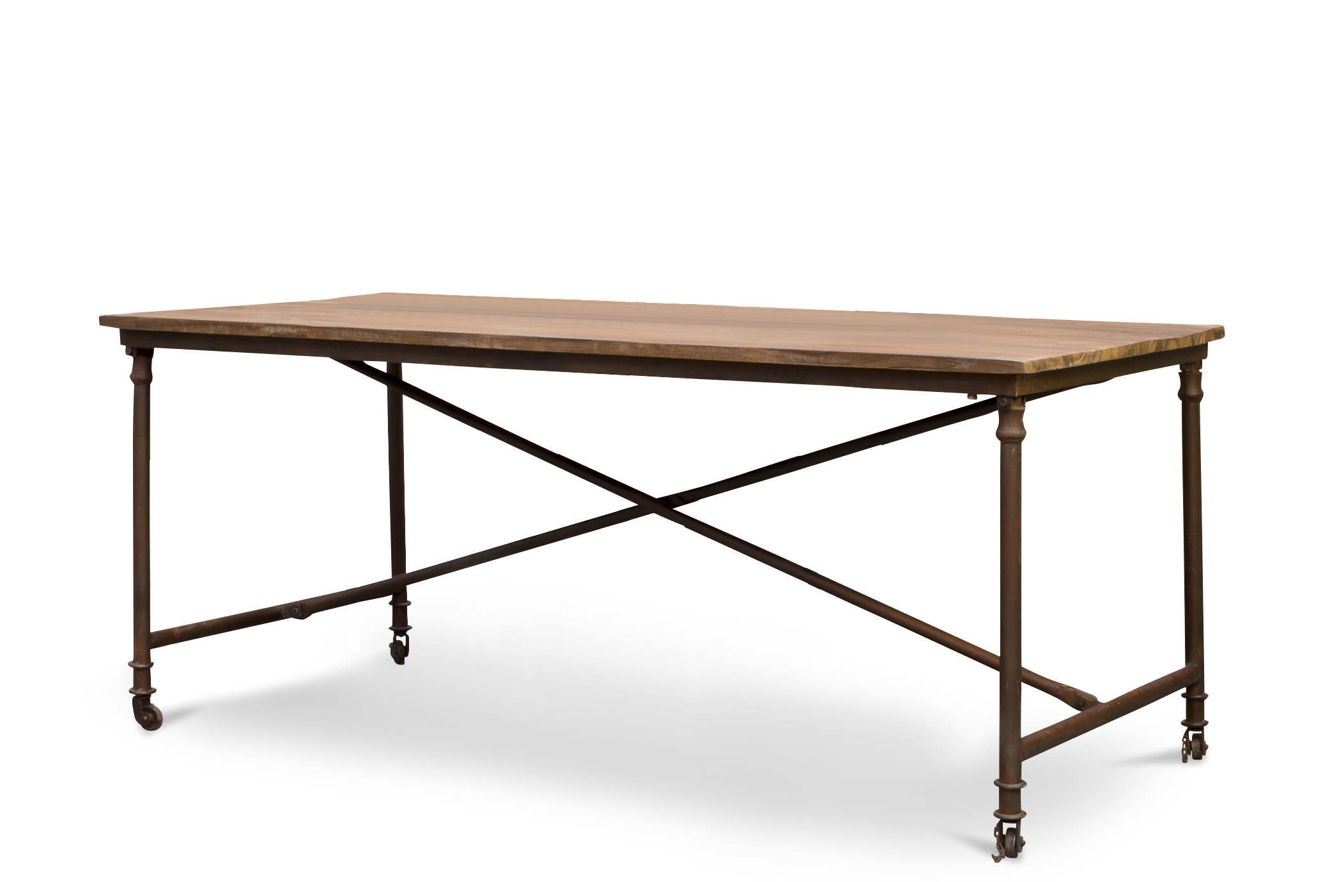 Table à diner industrielle en bois marron