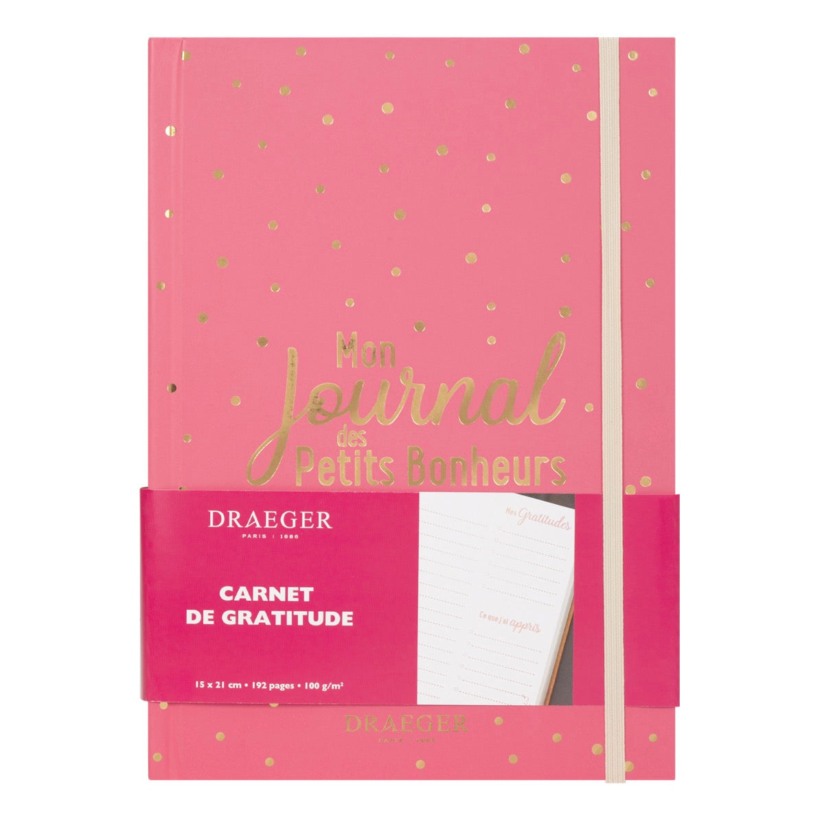 Journal de gratitude mes petits bonheurs rose framboise